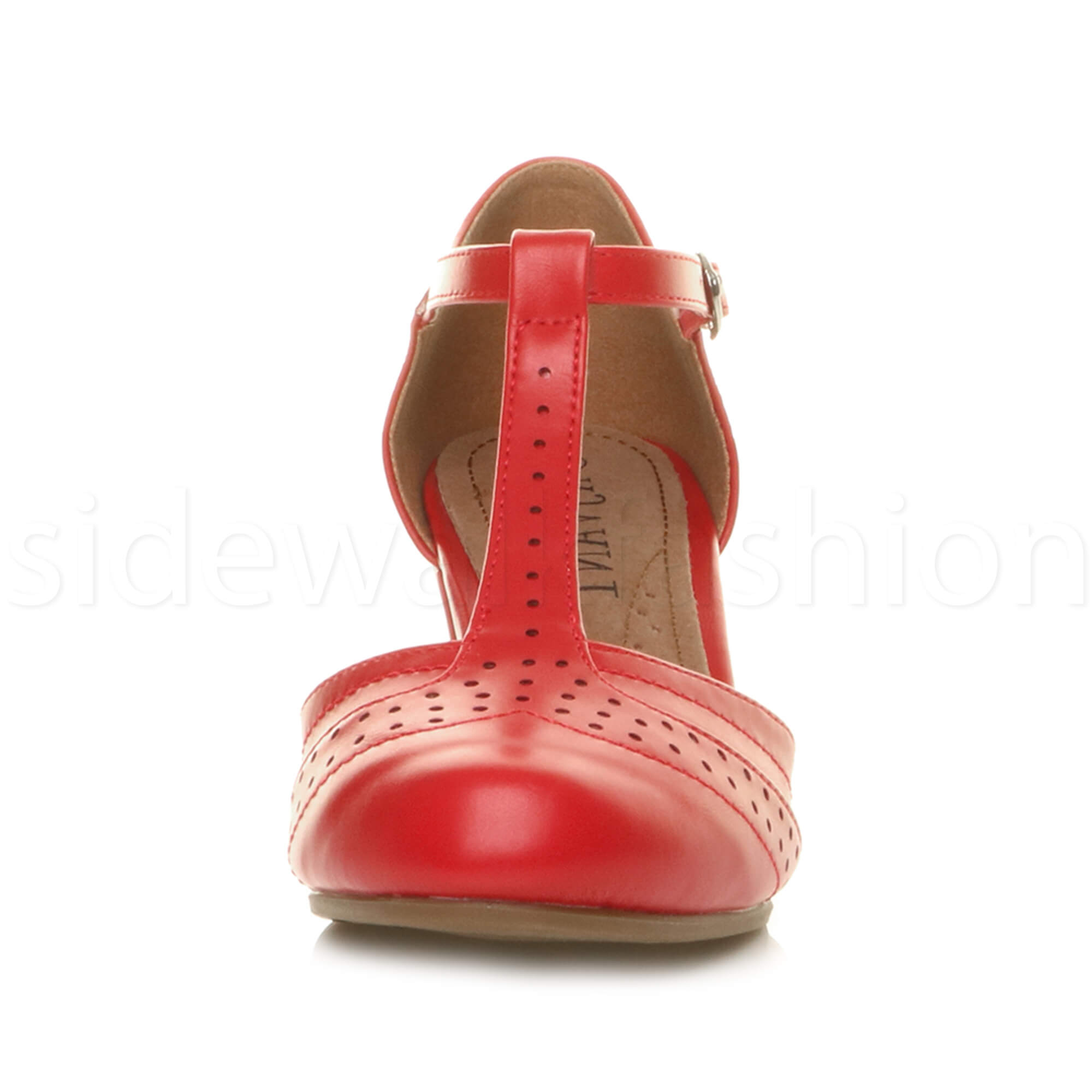 Womens-ladies-block-low-mid-heel-smart-work-Mary-Jane-T-bar-brogue-court-shoes thumbnail 63