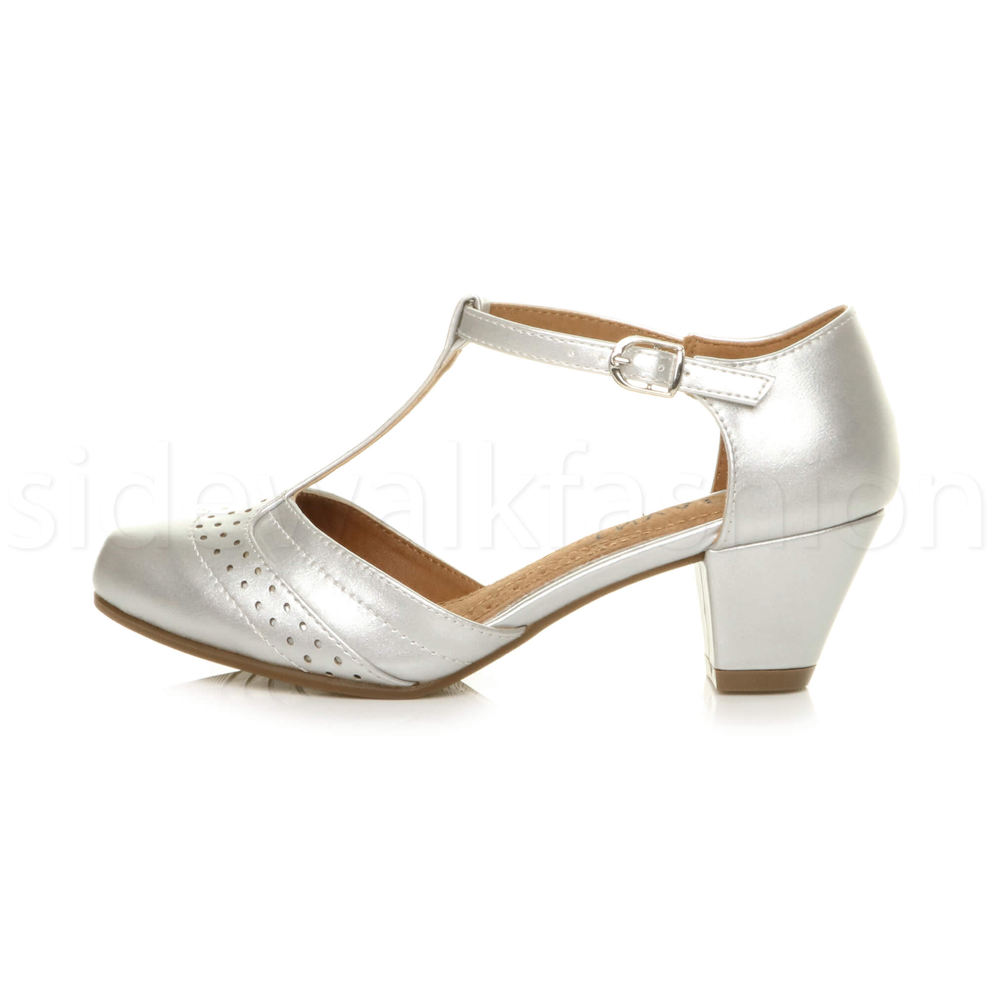 Womens-ladies-block-low-mid-heel-smart-work-Mary-Jane-T-bar-brogue-court-shoes thumbnail 66