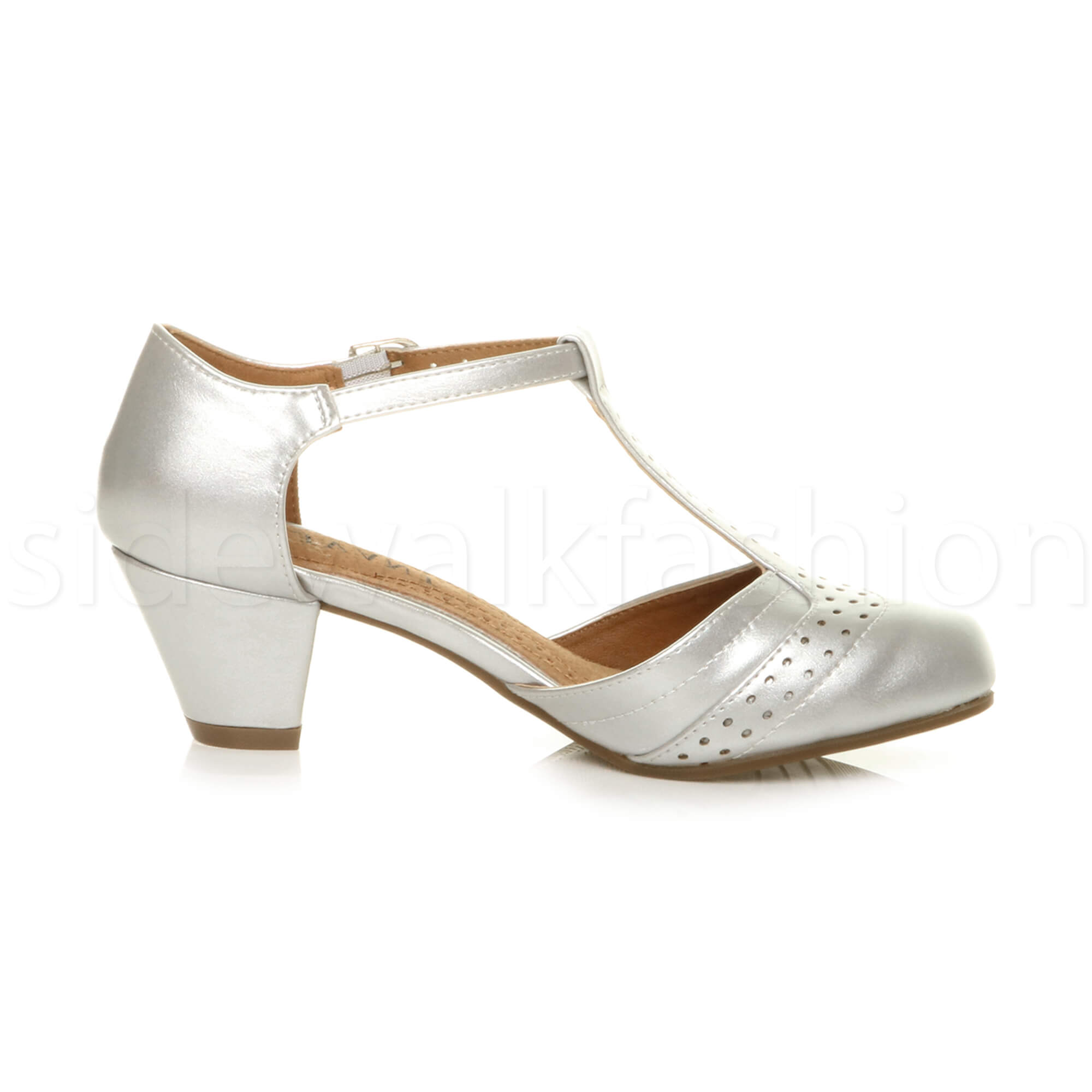 Womens-ladies-block-low-mid-heel-smart-work-Mary-Jane-T-bar-brogue-court-shoes thumbnail 67