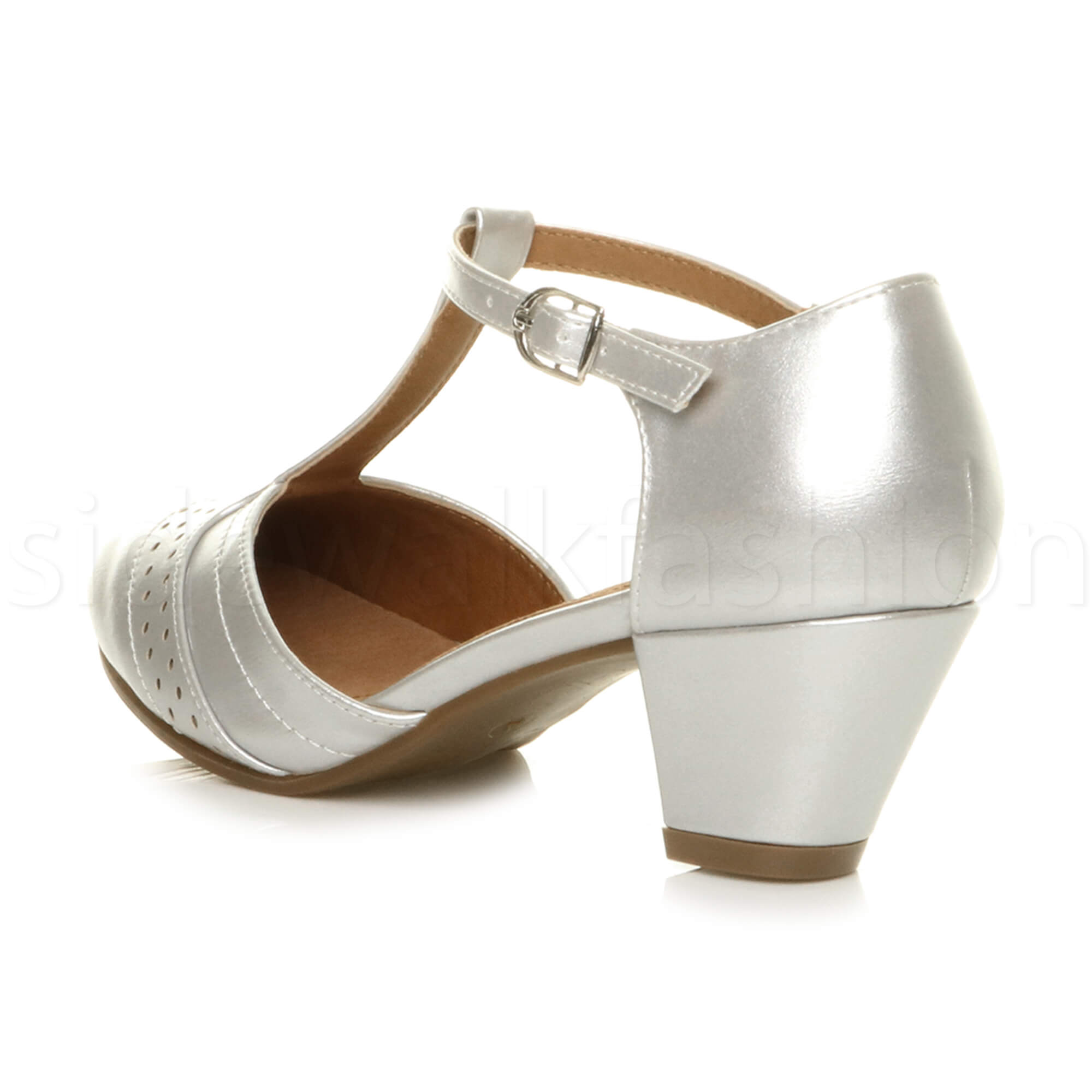 Womens-ladies-block-low-mid-heel-smart-work-Mary-Jane-T-bar-brogue-court-shoes thumbnail 68