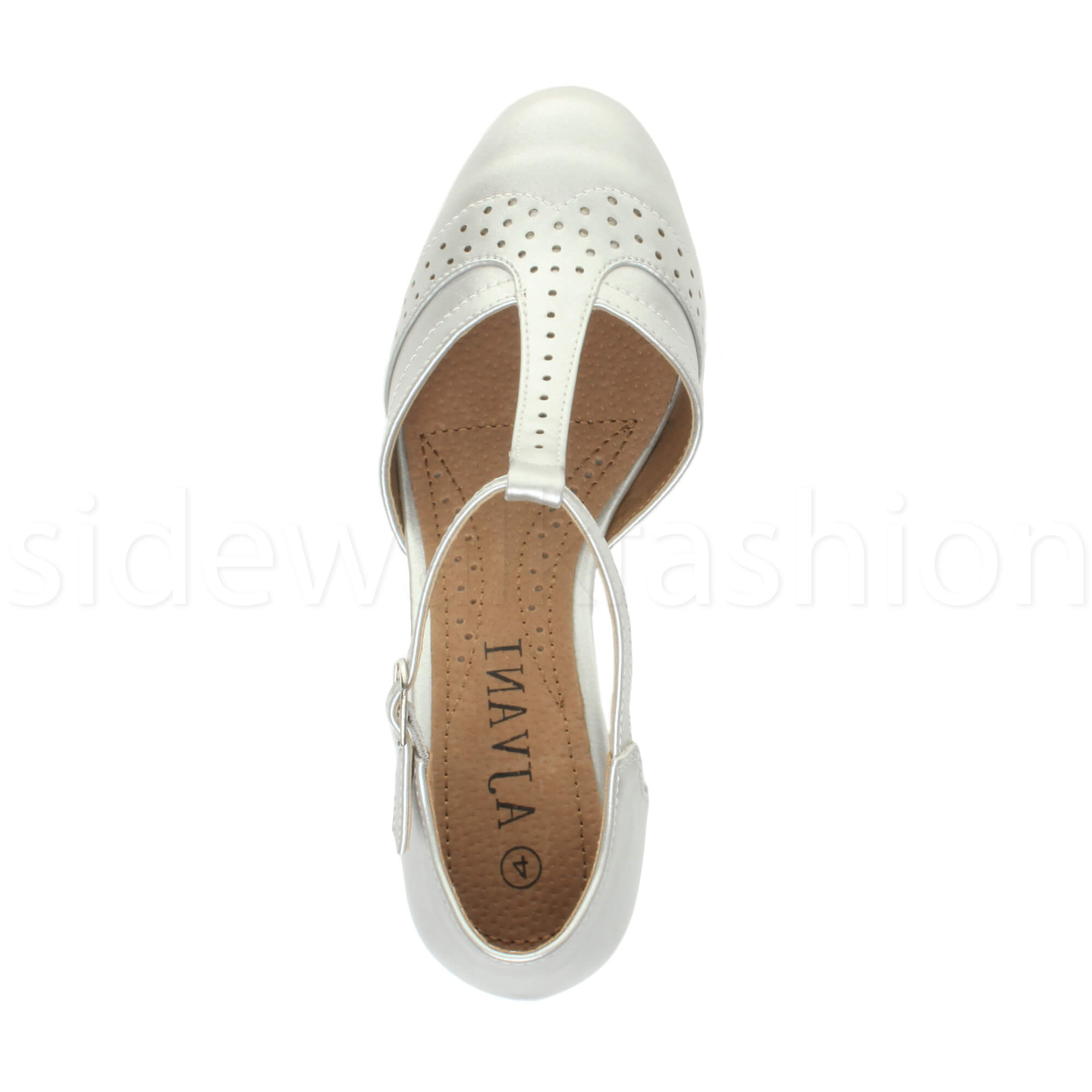 Womens-ladies-block-low-mid-heel-smart-work-Mary-Jane-T-bar-brogue-court-shoes thumbnail 69