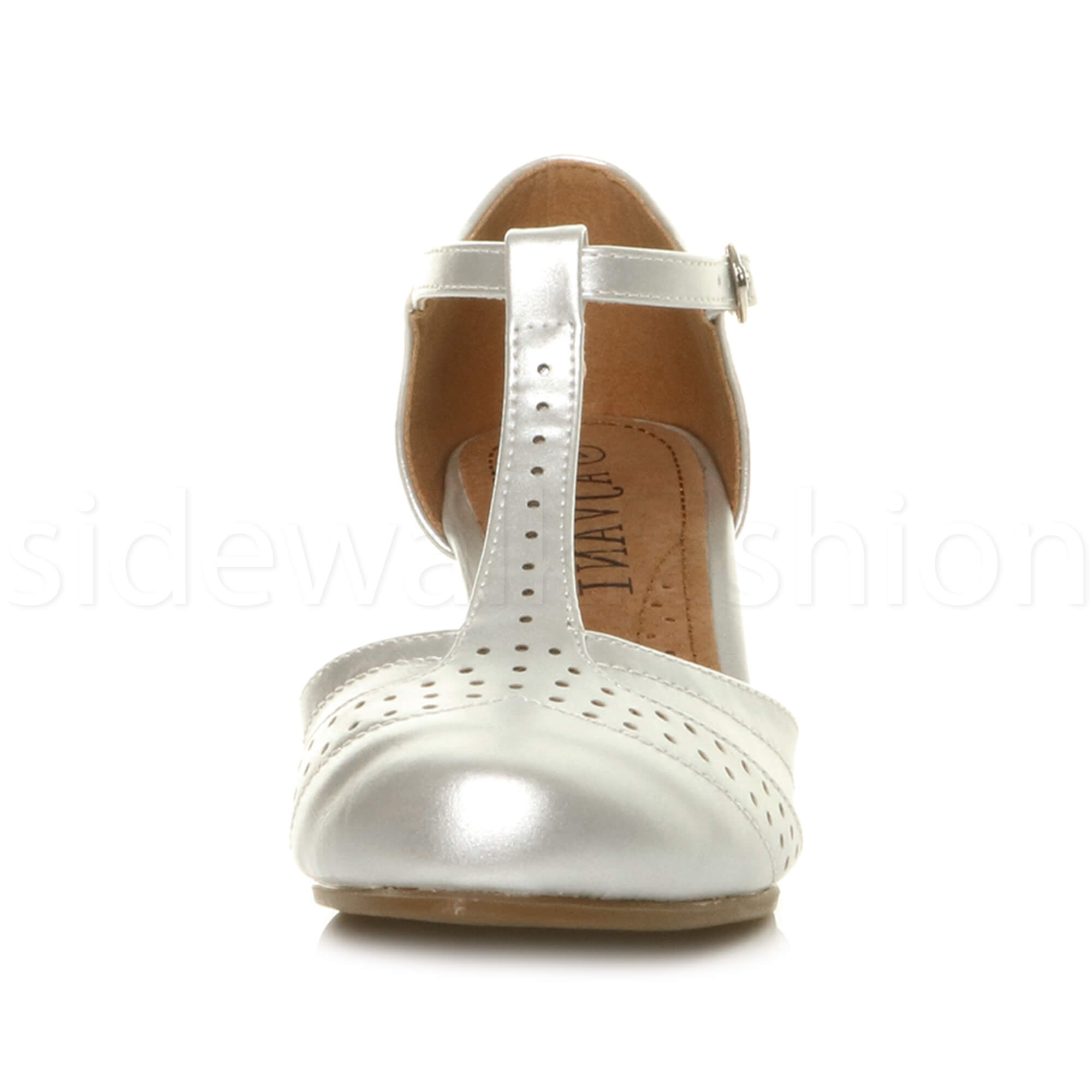 Womens-ladies-block-low-mid-heel-smart-work-Mary-Jane-T-bar-brogue-court-shoes thumbnail 70