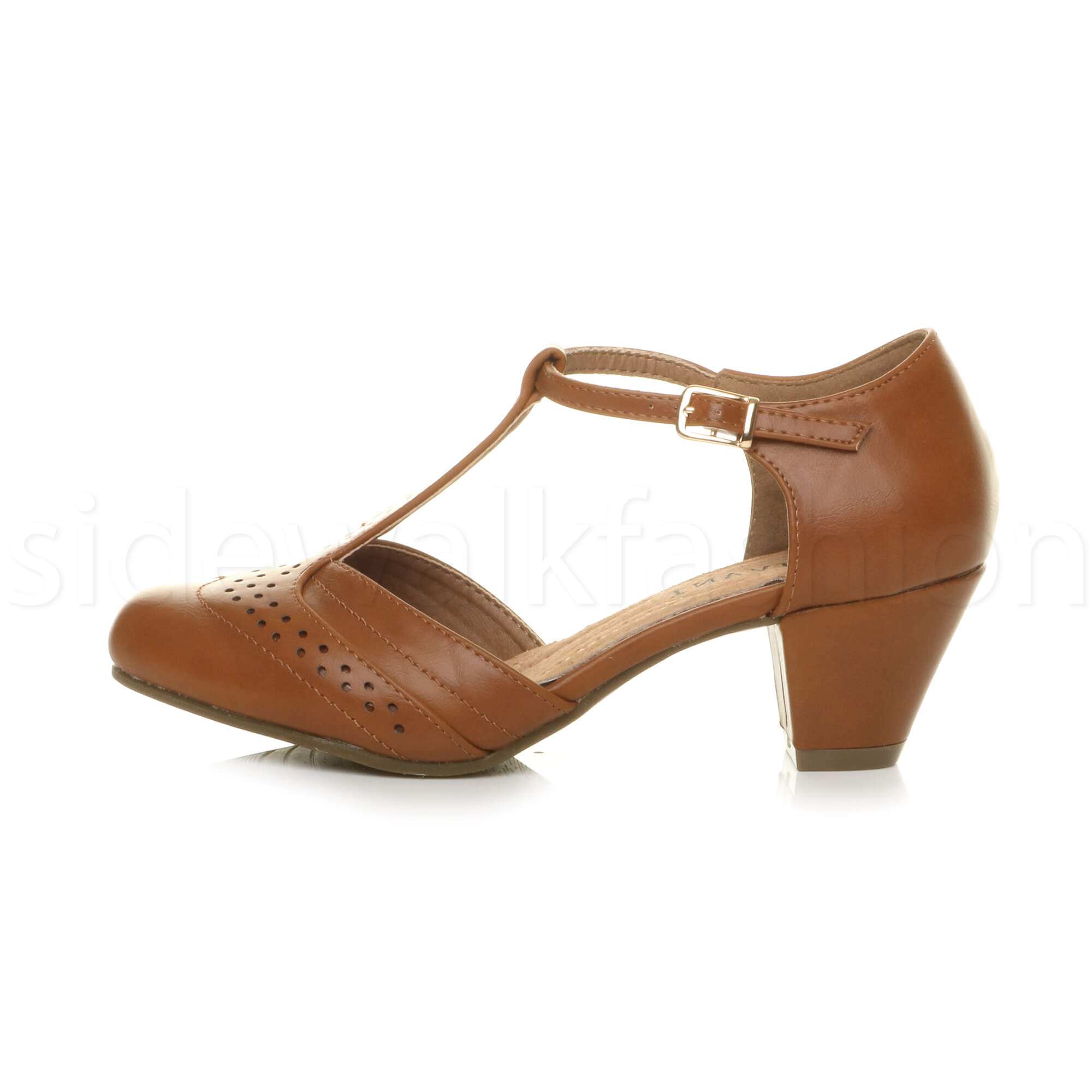 Womens-ladies-block-low-mid-heel-smart-work-Mary-Jane-T-bar-brogue-court-shoes thumbnail 73