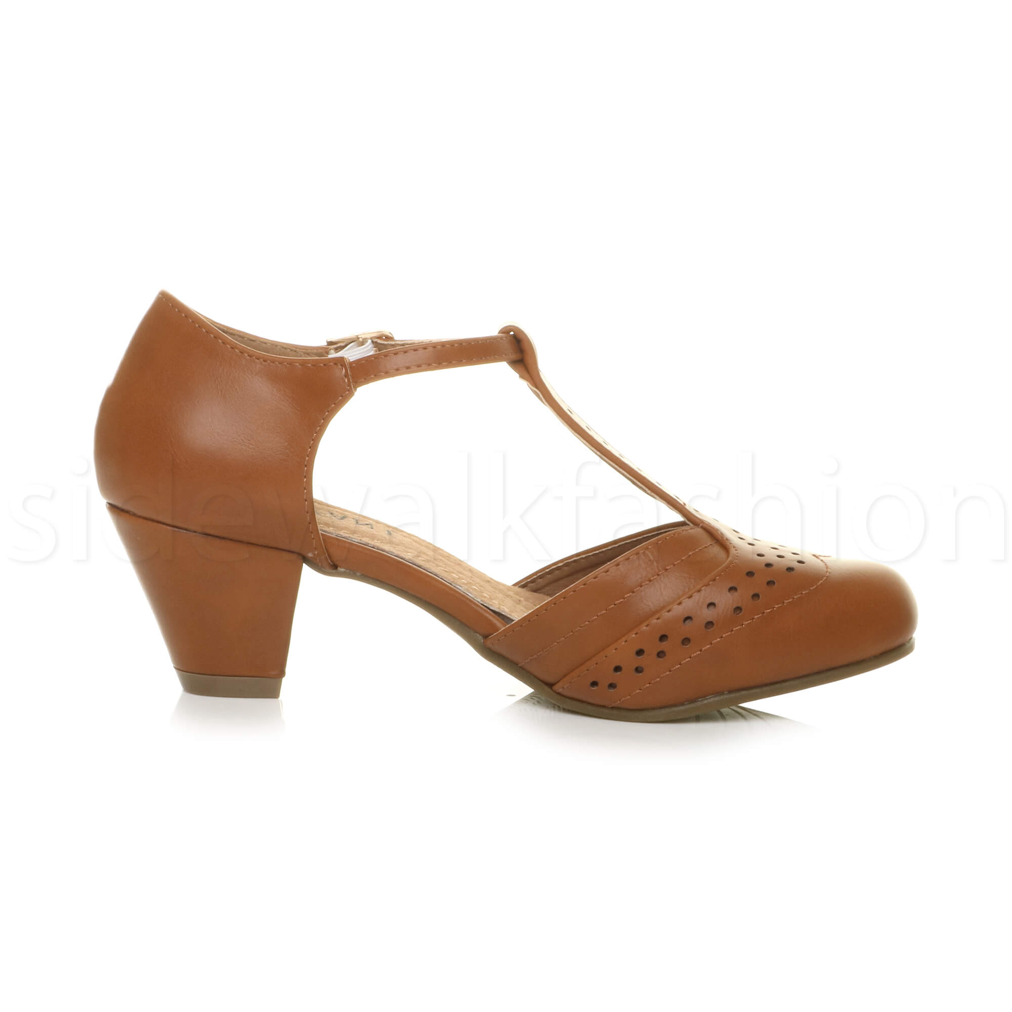 Womens-ladies-block-low-mid-heel-smart-work-Mary-Jane-T-bar-brogue-court-shoes thumbnail 74