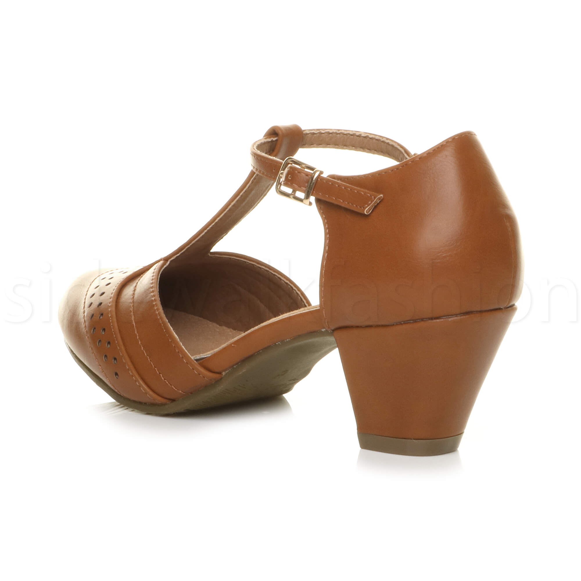 Womens-ladies-block-low-mid-heel-smart-work-Mary-Jane-T-bar-brogue-court-shoes thumbnail 75