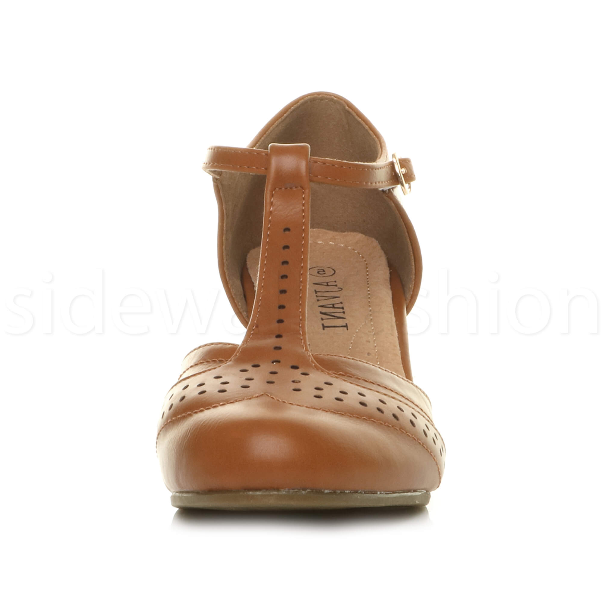 Womens-ladies-block-low-mid-heel-smart-work-Mary-Jane-T-bar-brogue-court-shoes thumbnail 76