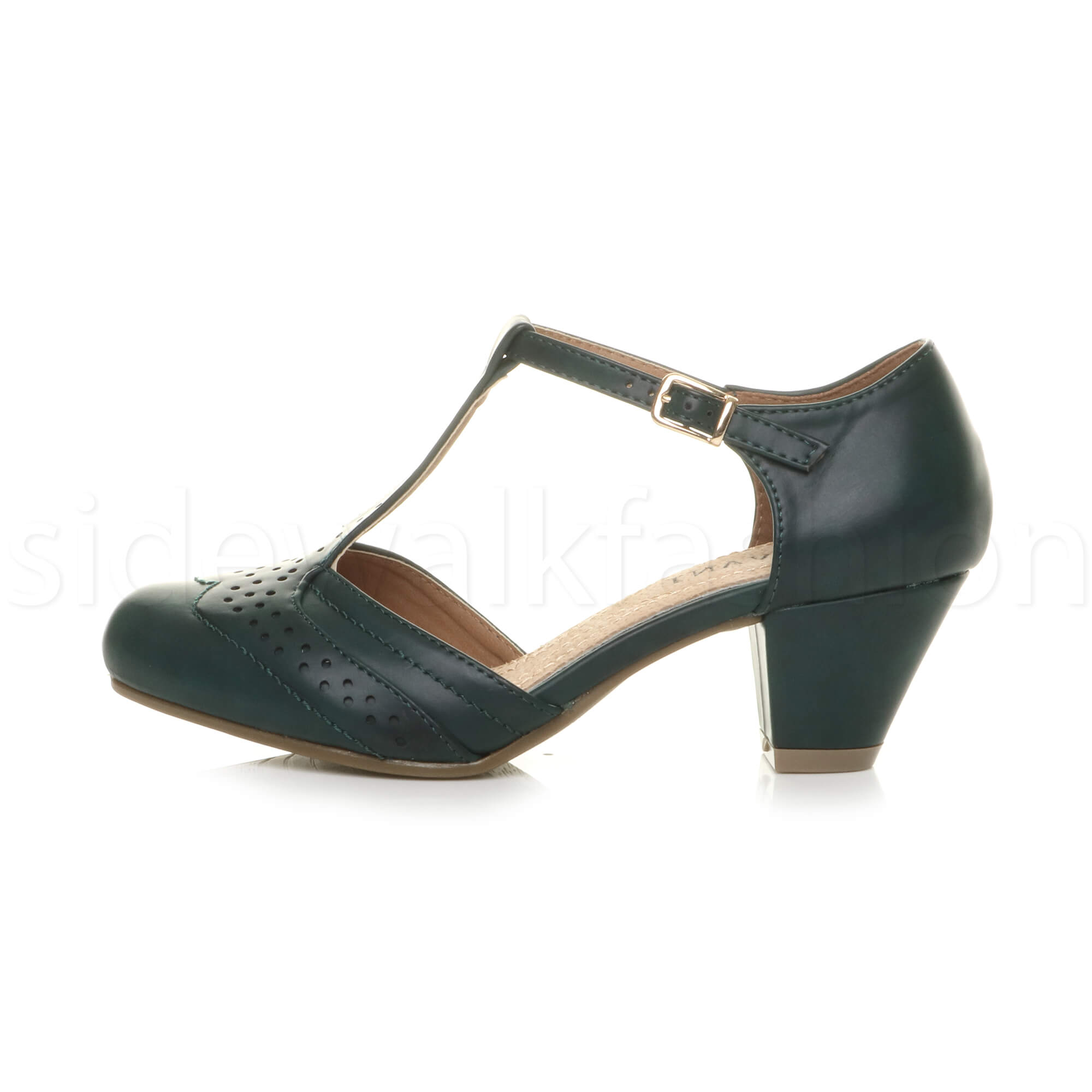 Womens-ladies-block-low-mid-heel-smart-work-Mary-Jane-T-bar-brogue-court-shoes thumbnail 24