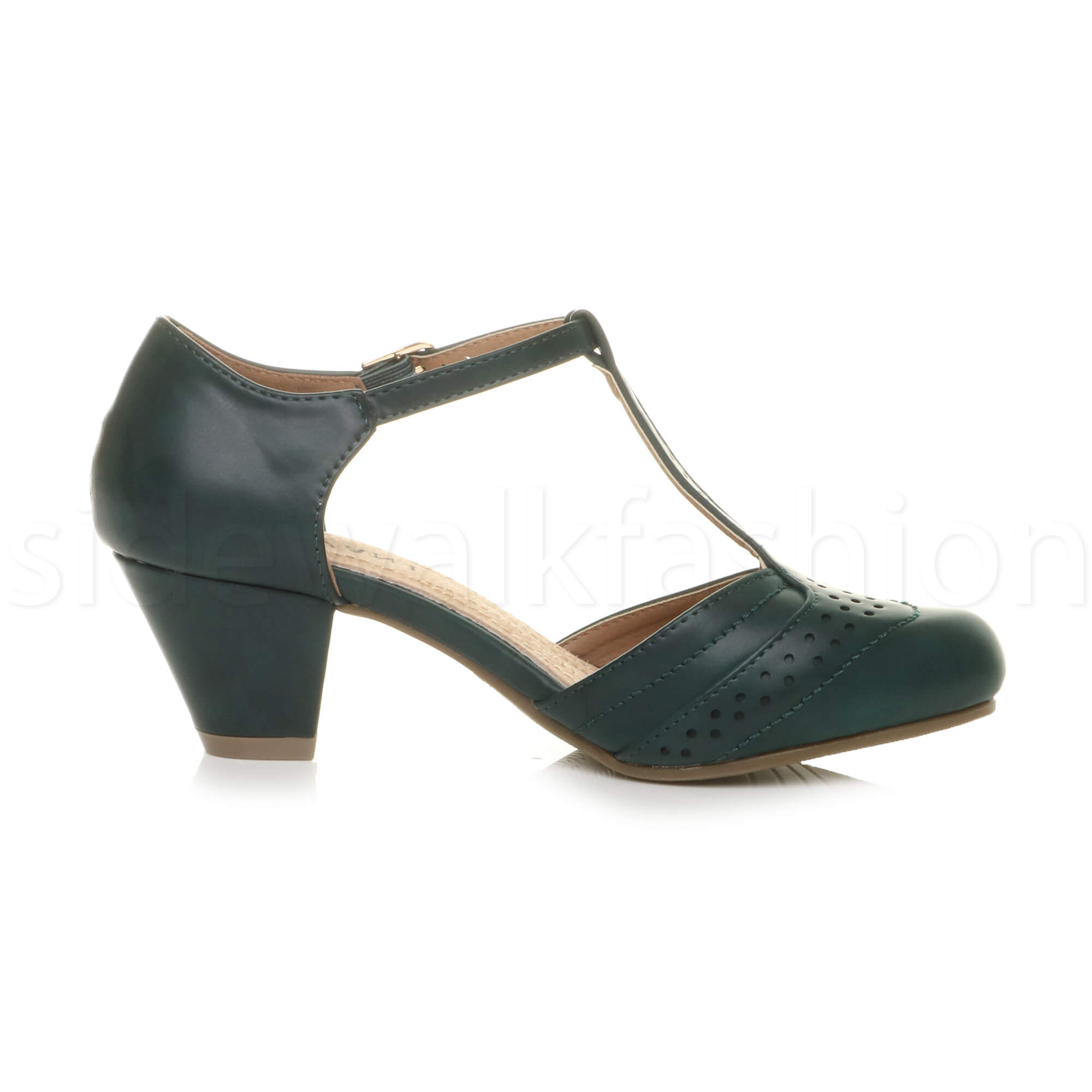 Womens-ladies-block-low-mid-heel-smart-work-Mary-Jane-T-bar-brogue-court-shoes thumbnail 25