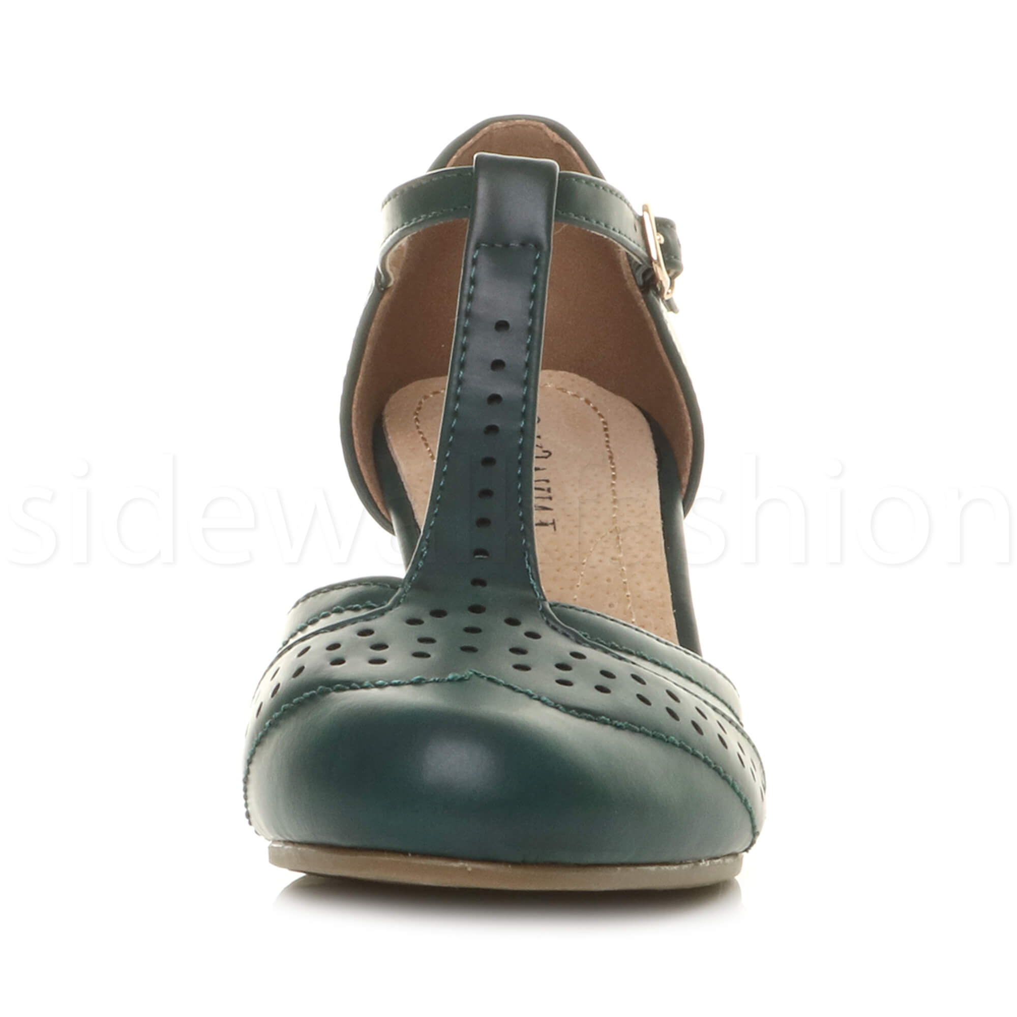 Womens-ladies-block-low-mid-heel-smart-work-Mary-Jane-T-bar-brogue-court-shoes thumbnail 28