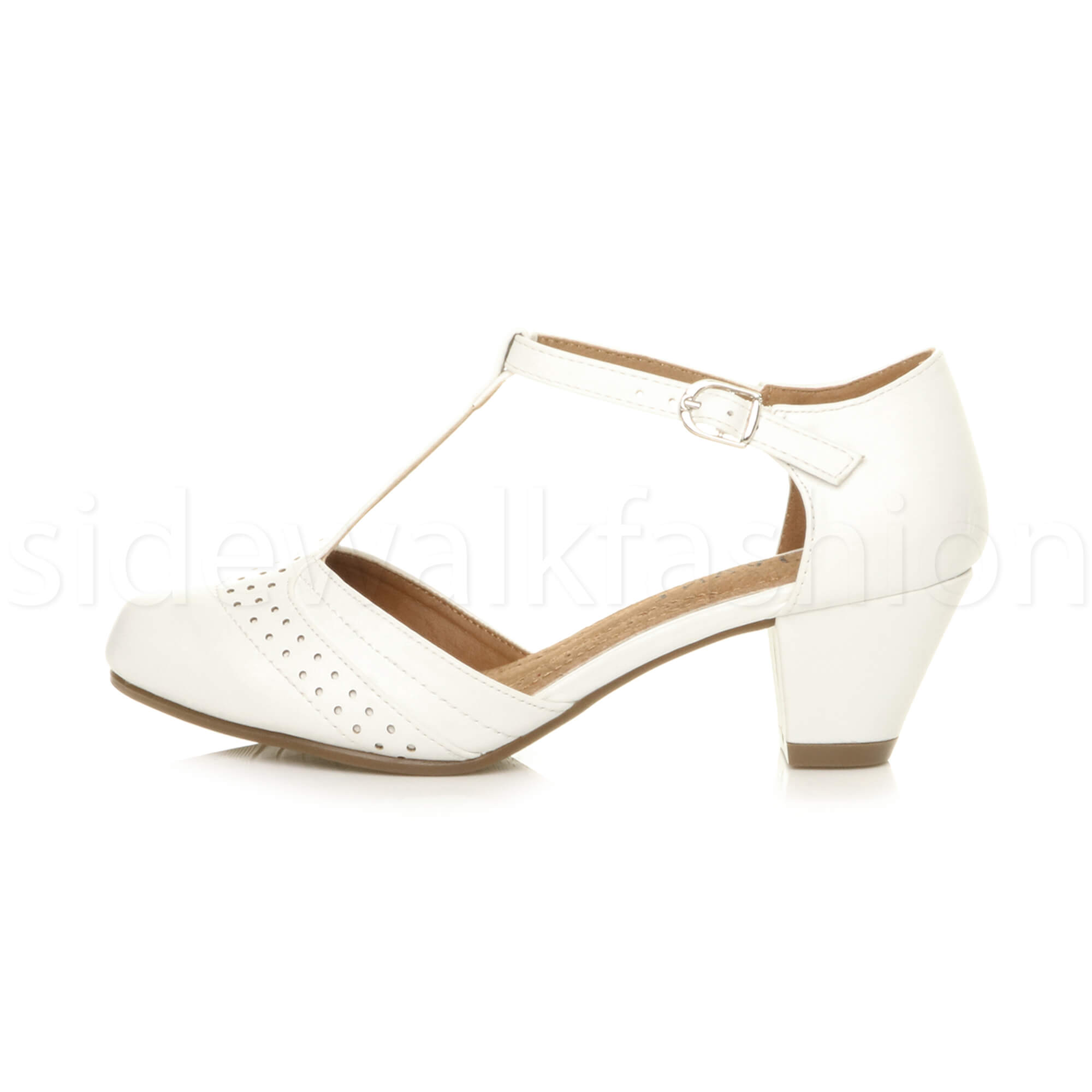 Womens-ladies-block-low-mid-heel-smart-work-Mary-Jane-T-bar-brogue-court-shoes thumbnail 80