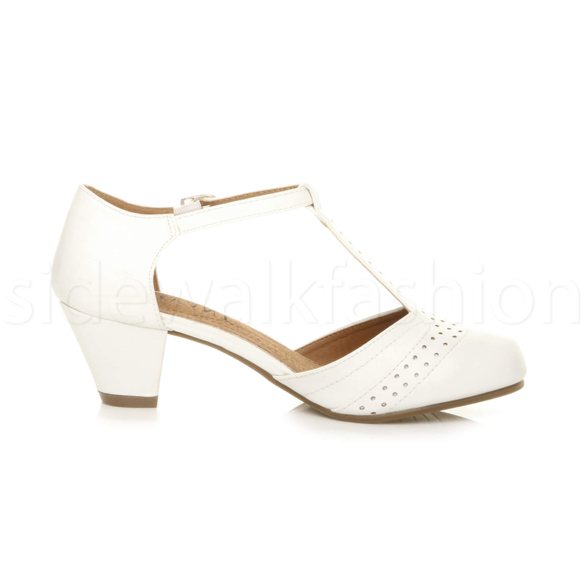 Womens-ladies-block-low-mid-heel-smart-work-Mary-Jane-T-bar-brogue-court-shoes thumbnail 81