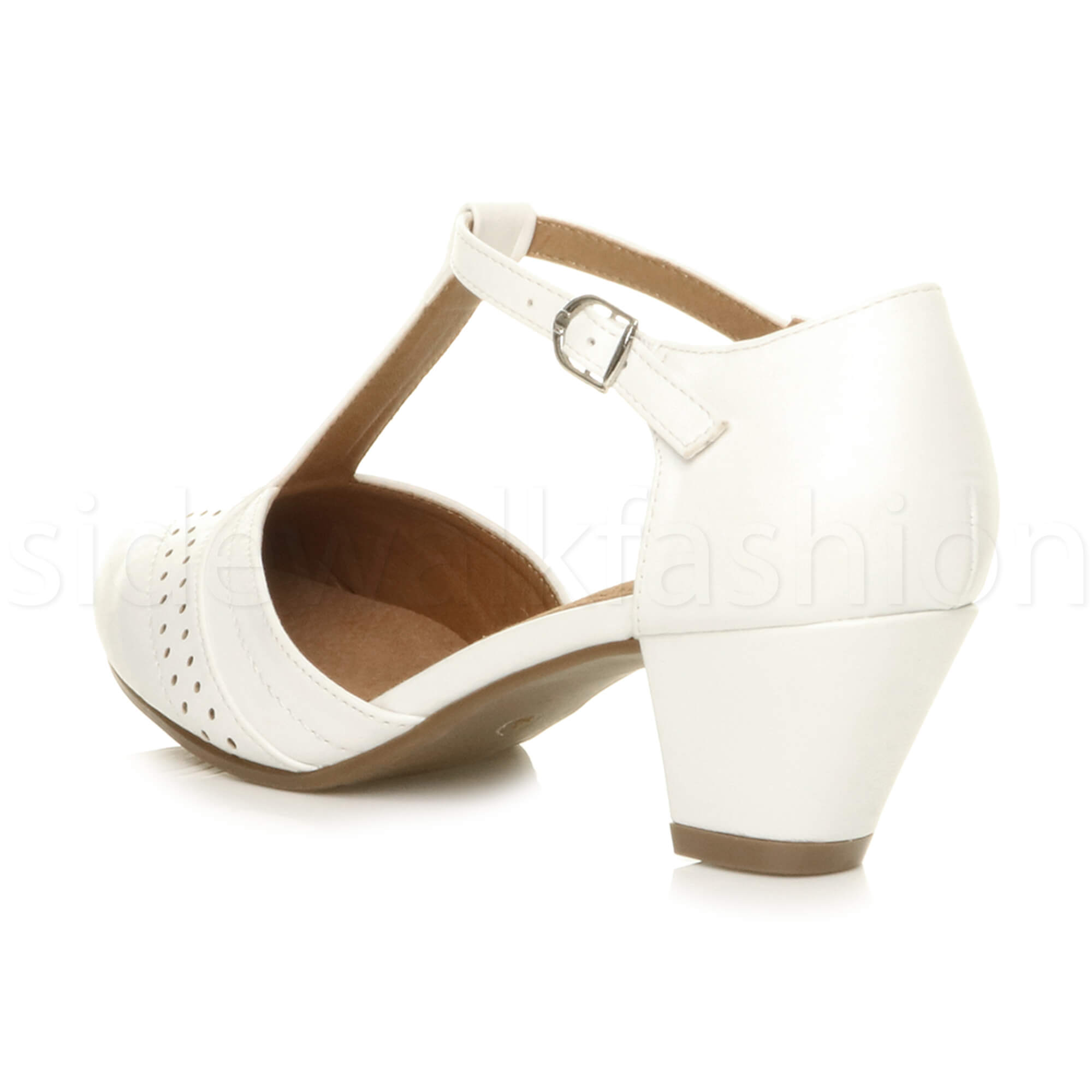 Womens-ladies-block-low-mid-heel-smart-work-Mary-Jane-T-bar-brogue-court-shoes thumbnail 82