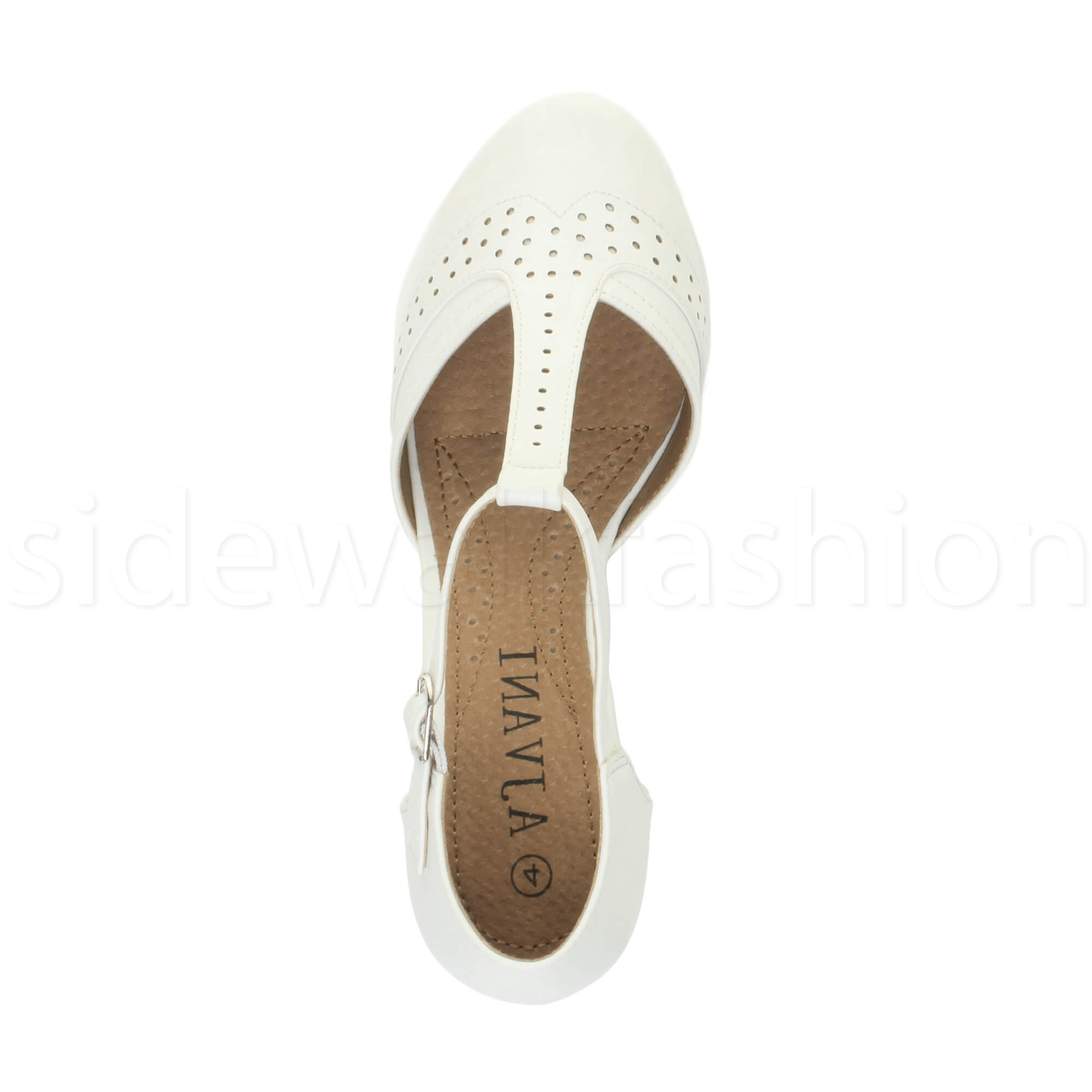 Womens-ladies-block-low-mid-heel-smart-work-Mary-Jane-T-bar-brogue-court-shoes thumbnail 83