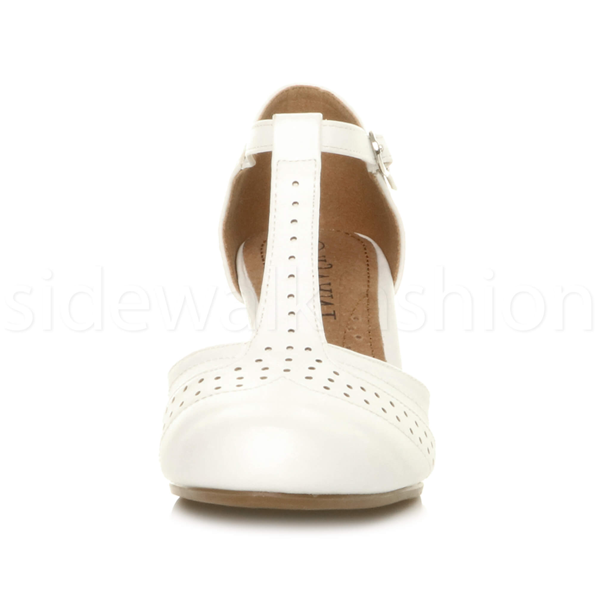 Womens-ladies-block-low-mid-heel-smart-work-Mary-Jane-T-bar-brogue-court-shoes thumbnail 84