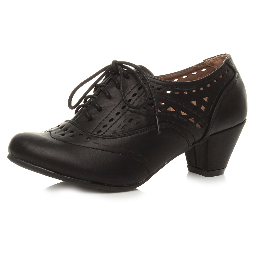 Ladies Mid Heel Lace Up Shoes