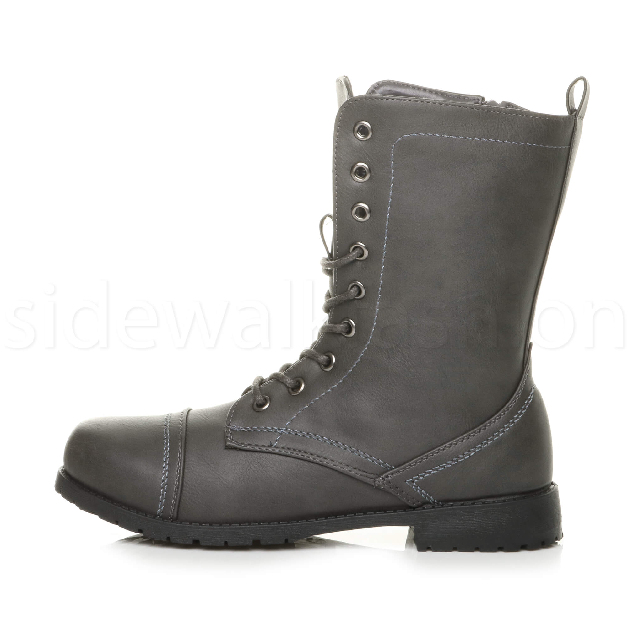 Womens-ladies-low-heel-flat-lace-up-zip-combat-biker-military-ankle-boots-size thumbnail 83