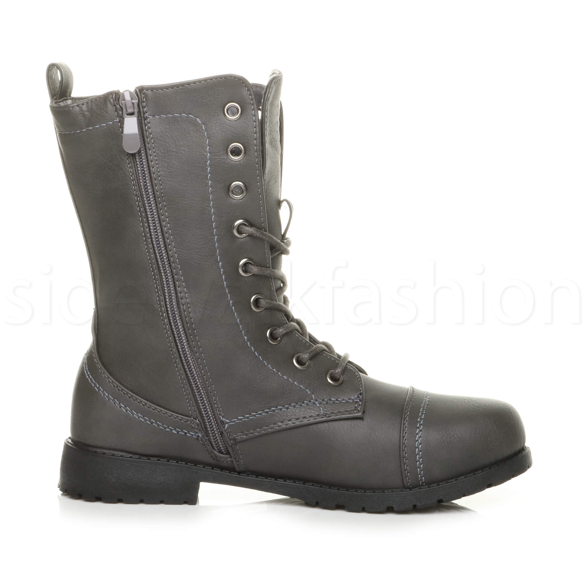 Womens-ladies-low-heel-flat-lace-up-zip-combat-biker-military-ankle-boots-size thumbnail 84