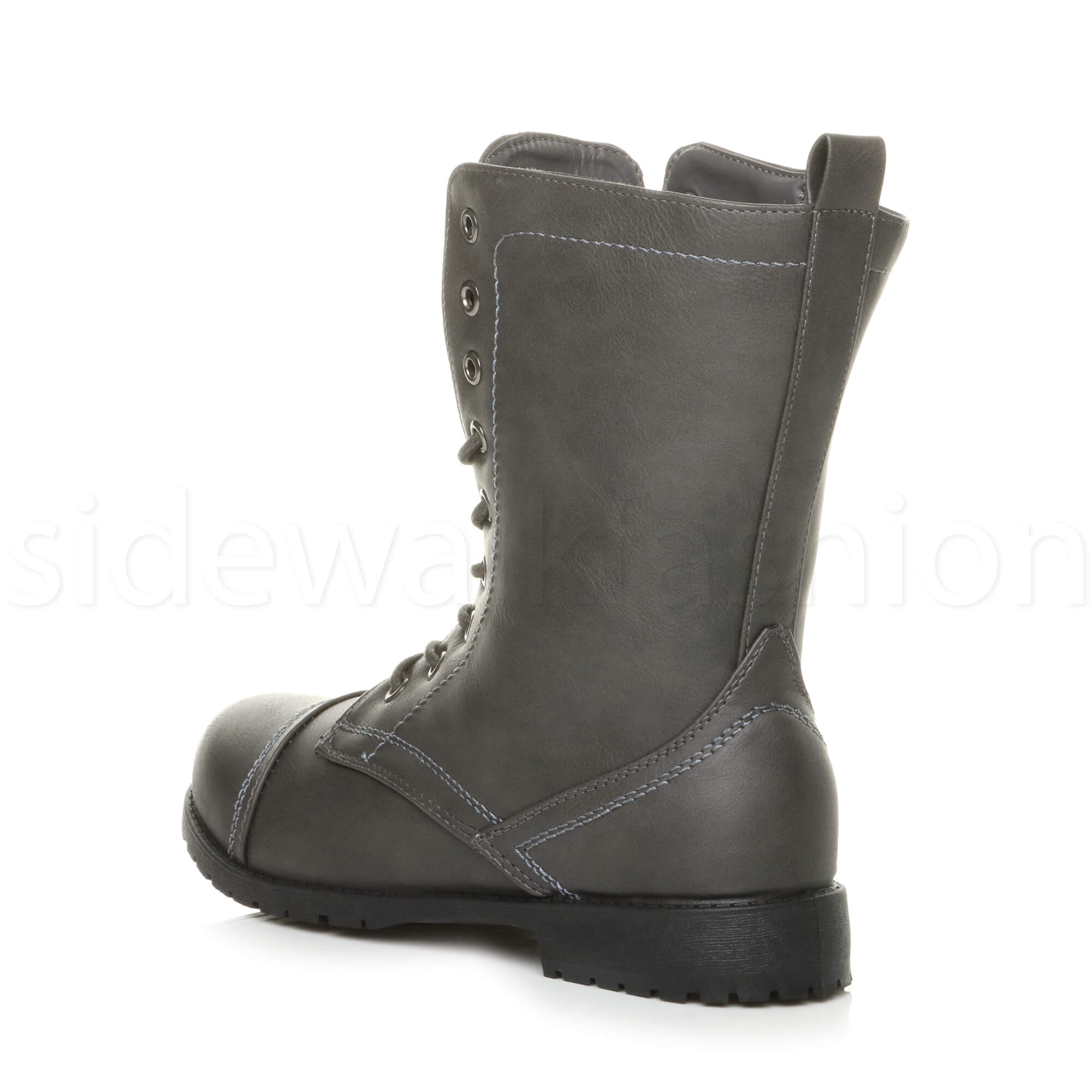 Womens-ladies-low-heel-flat-lace-up-zip-combat-biker-military-ankle-boots-size thumbnail 85
