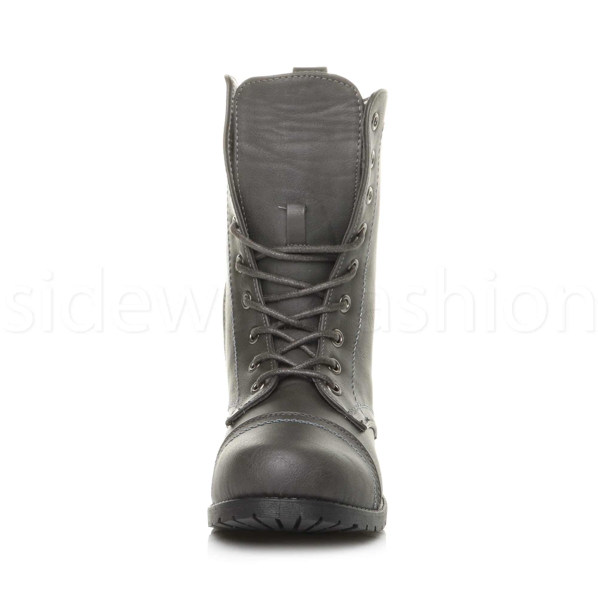 Womens-ladies-low-heel-flat-lace-up-zip-combat-biker-military-ankle-boots-size thumbnail 87