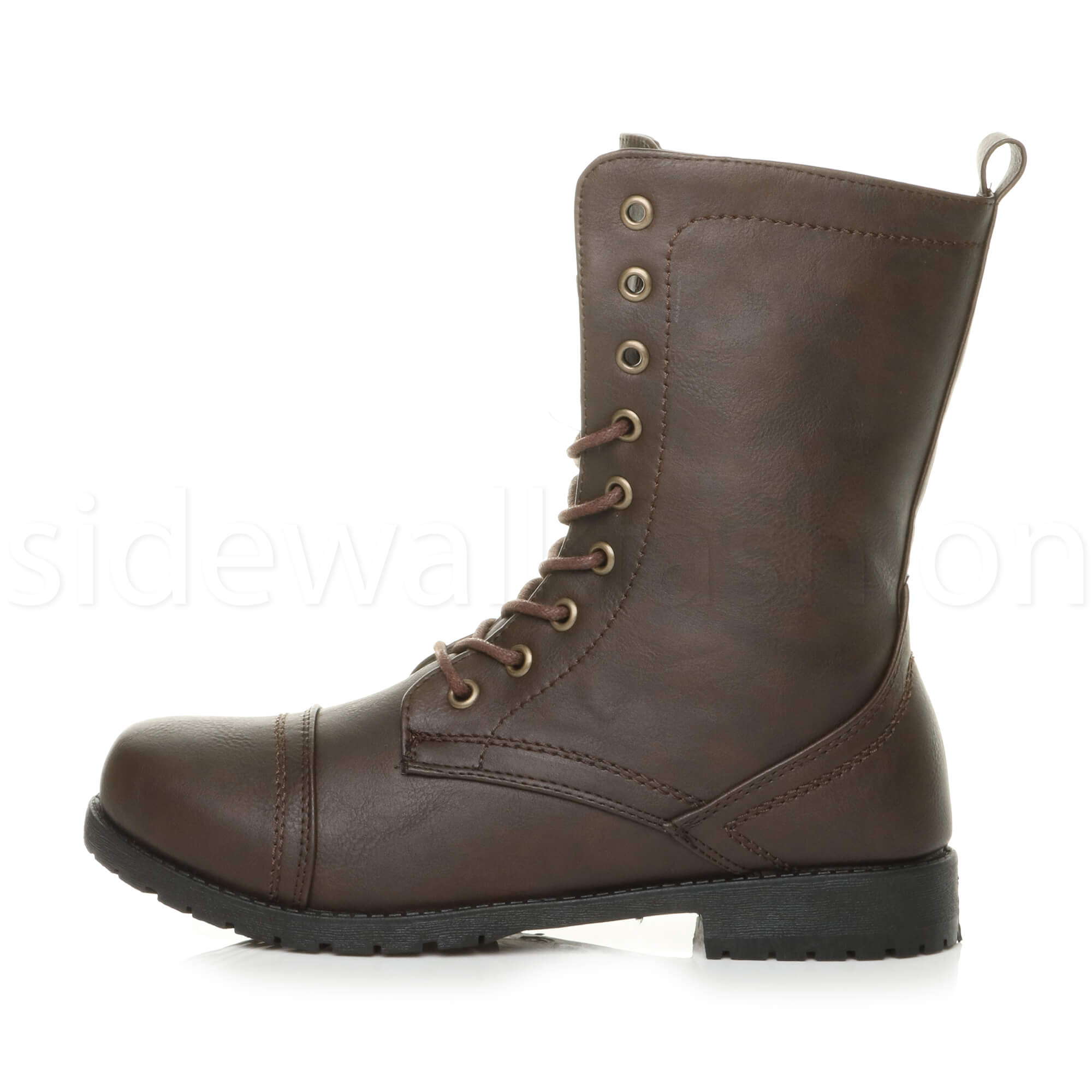 Womens-ladies-low-heel-flat-lace-up-zip-combat-biker-military-ankle-boots-size thumbnail 75