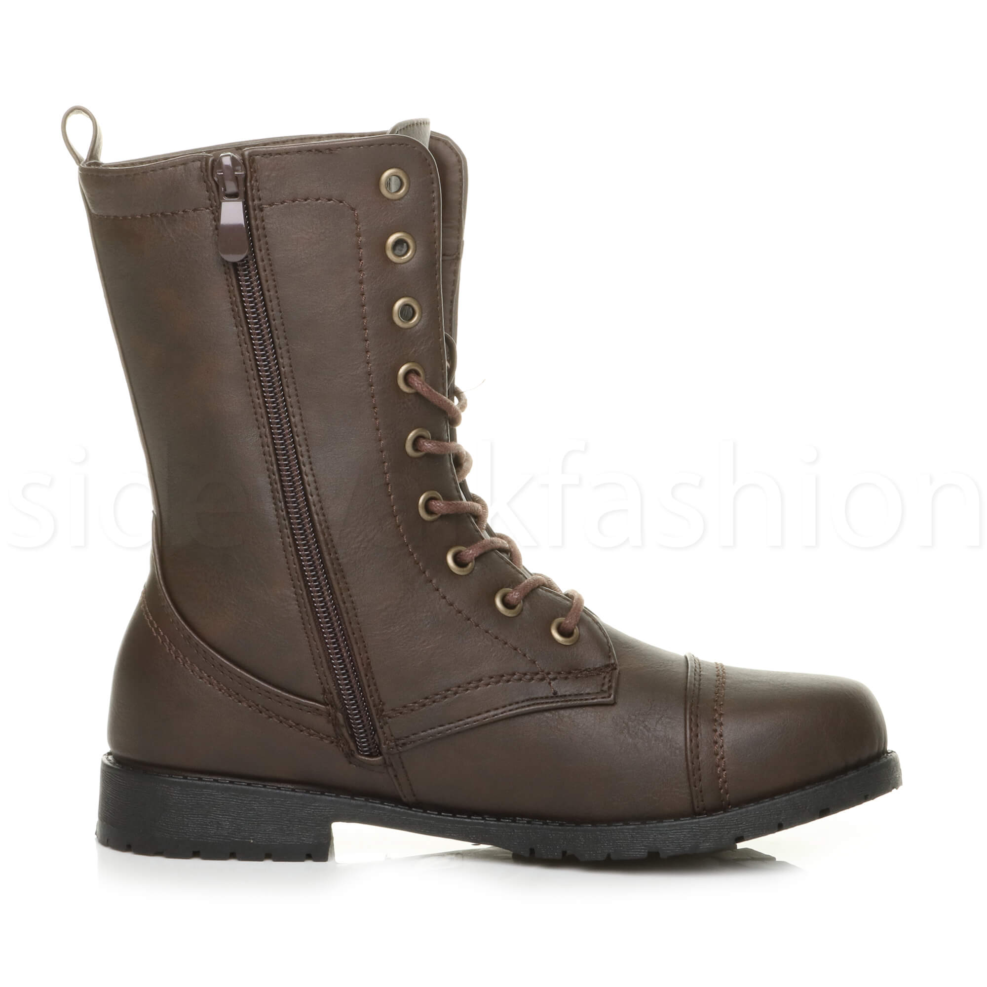 Womens-ladies-low-heel-flat-lace-up-zip-combat-biker-military-ankle-boots-size thumbnail 76