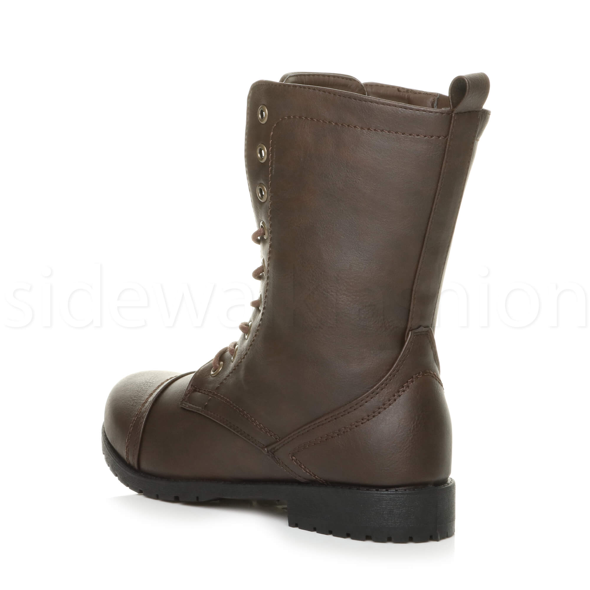 Womens-ladies-low-heel-flat-lace-up-zip-combat-biker-military-ankle-boots-size thumbnail 77