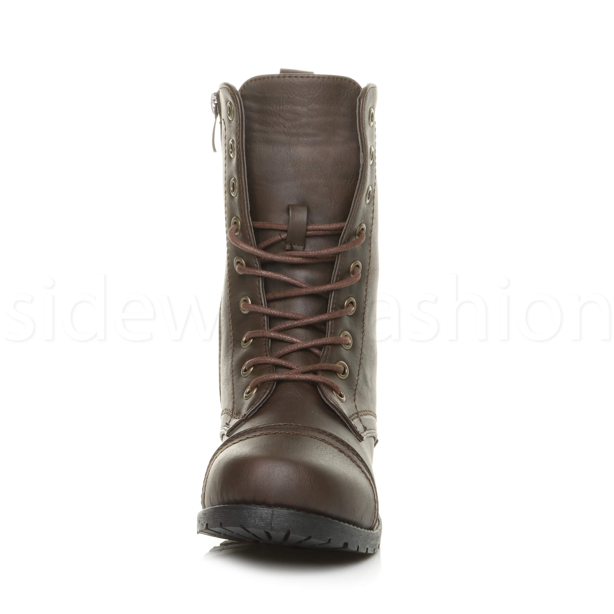 Womens-ladies-low-heel-flat-lace-up-zip-combat-biker-military-ankle-boots-size thumbnail 79
