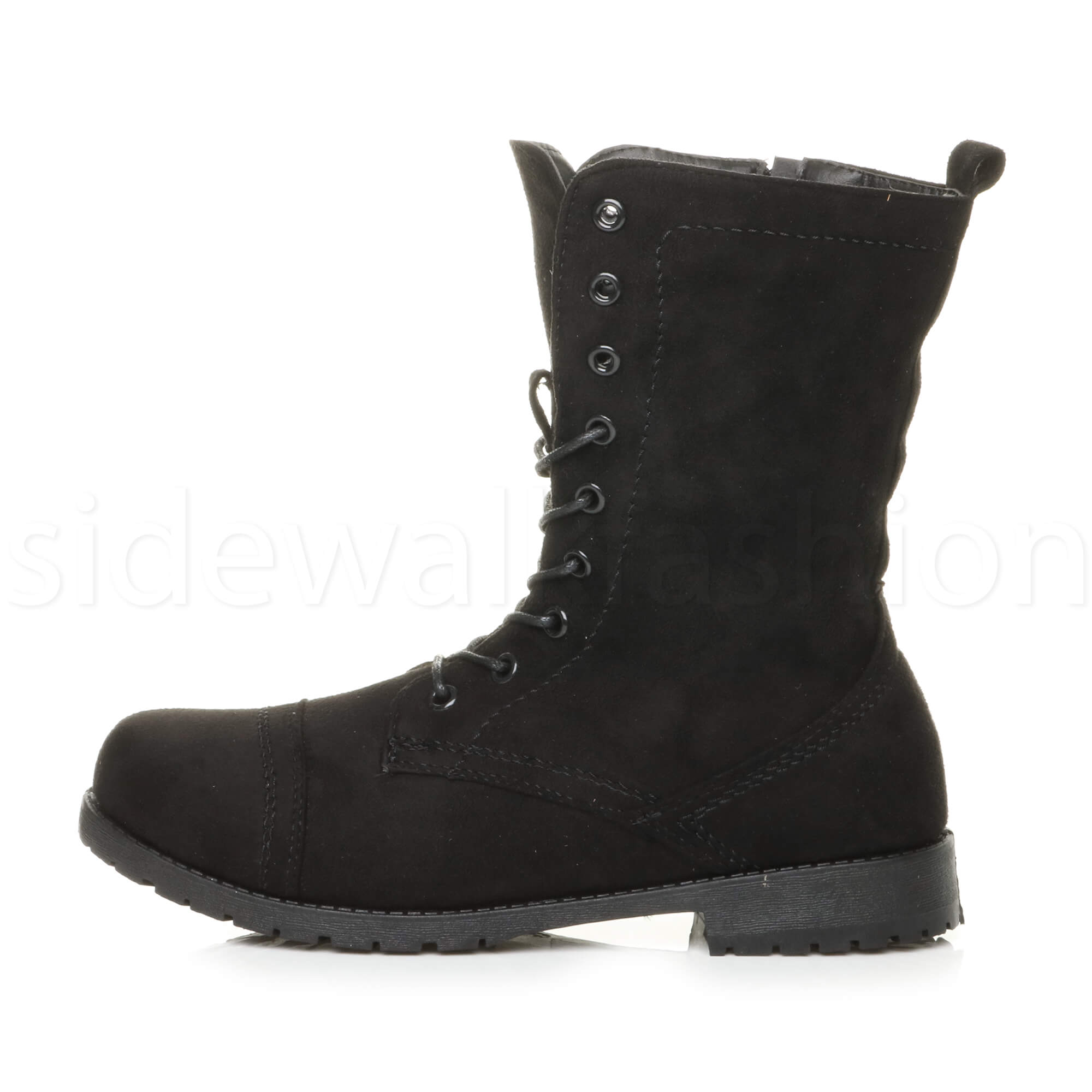 Womens-ladies-low-heel-flat-lace-up-zip-combat-biker-military-ankle-boots-size thumbnail 67