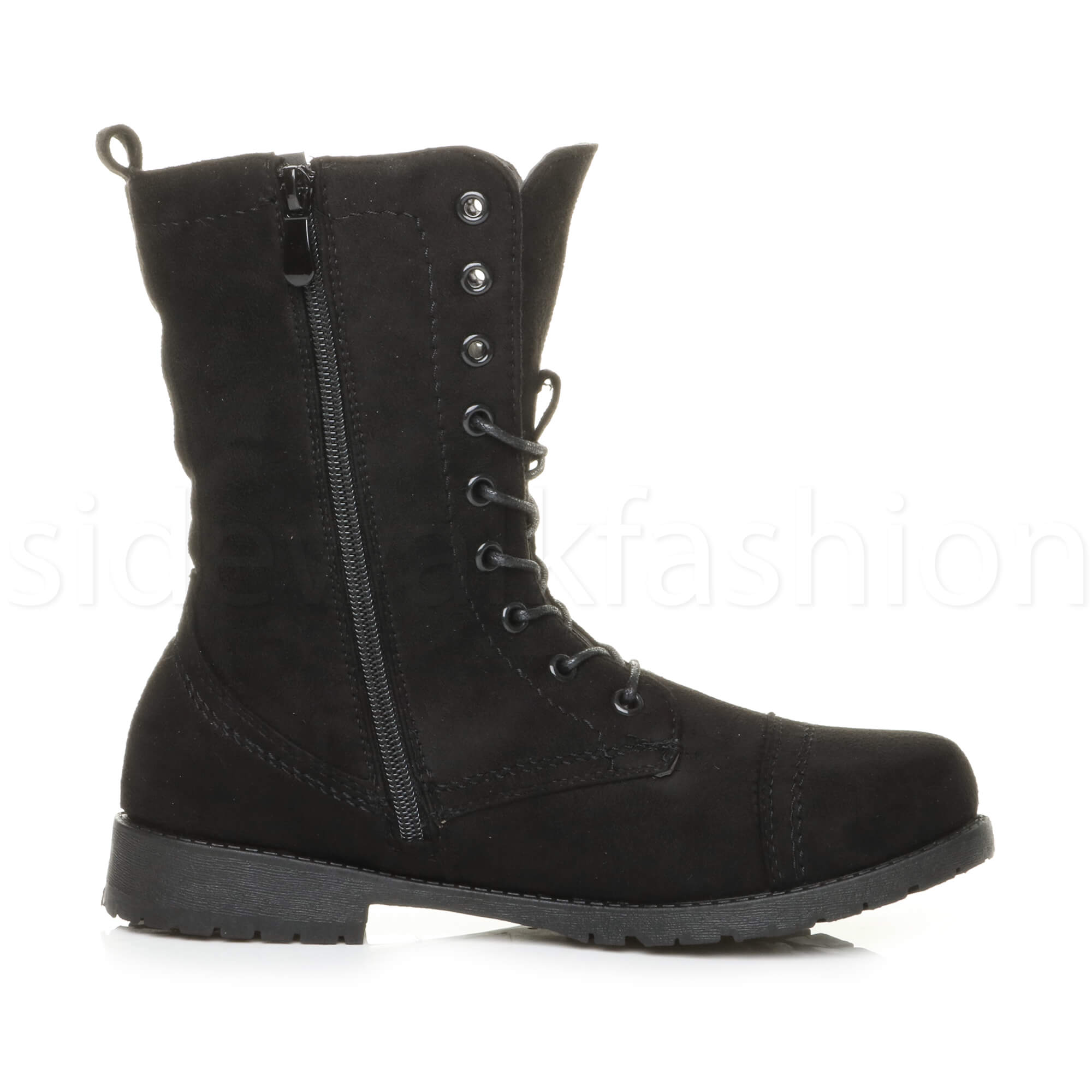 Womens-ladies-low-heel-flat-lace-up-zip-combat-biker-military-ankle-boots-size thumbnail 68