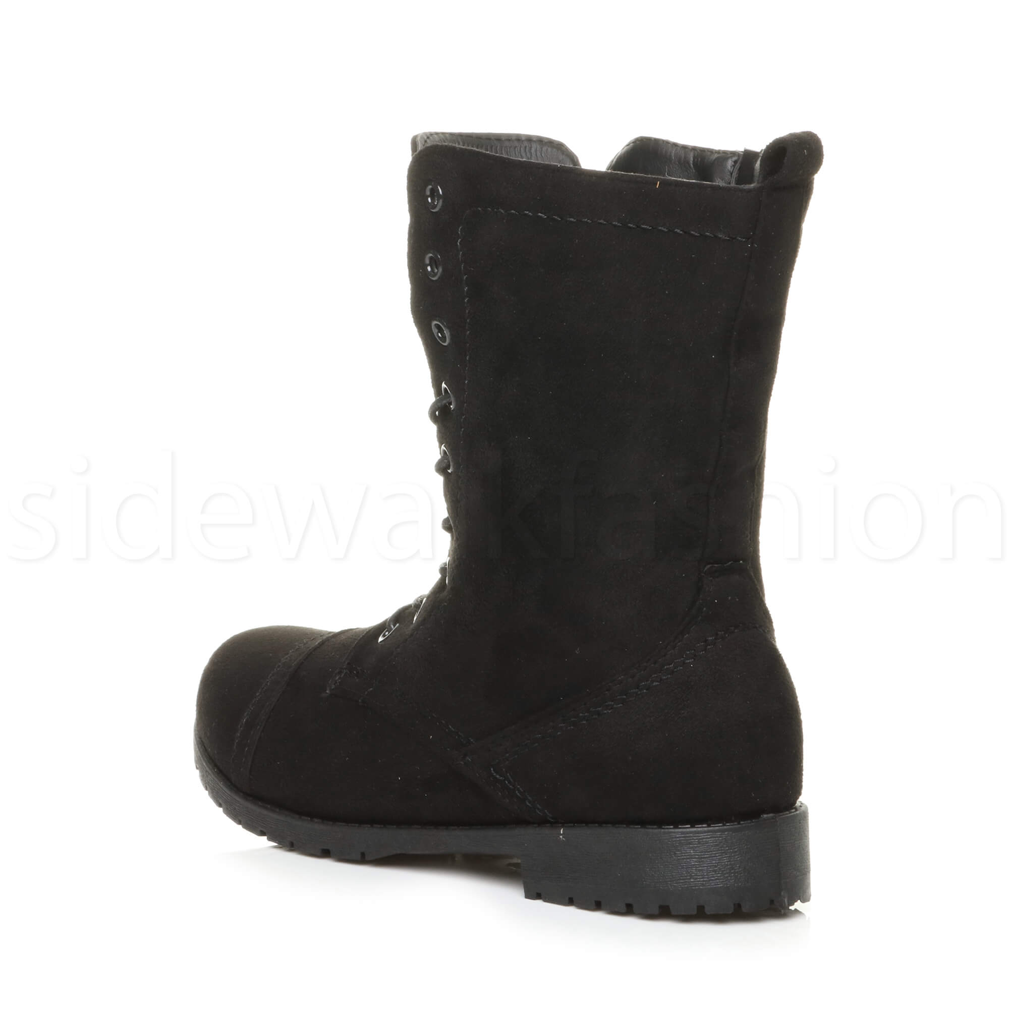 Womens-ladies-low-heel-flat-lace-up-zip-combat-biker-military-ankle-boots-size thumbnail 69