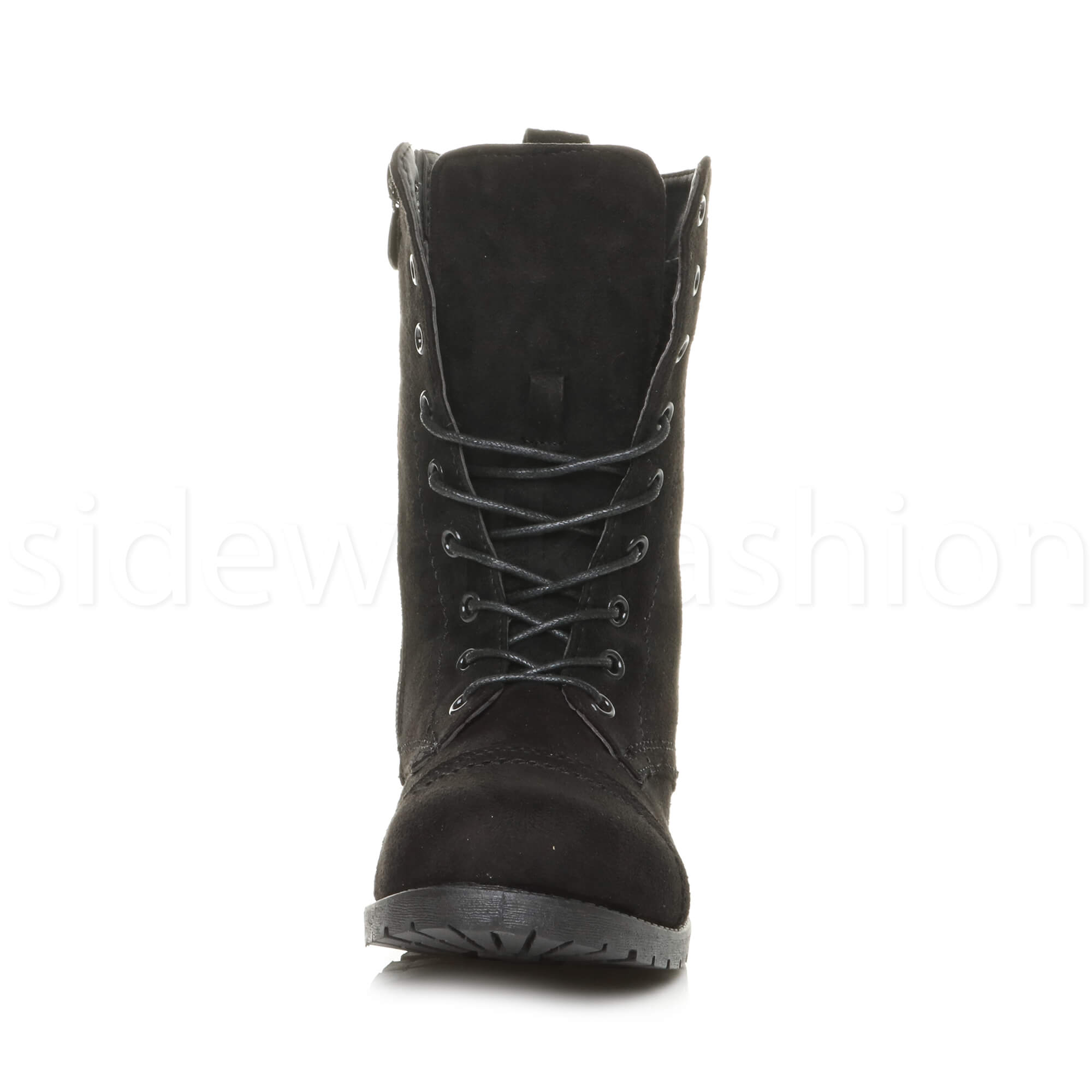 Womens-ladies-low-heel-flat-lace-up-zip-combat-biker-military-ankle-boots-size thumbnail 71