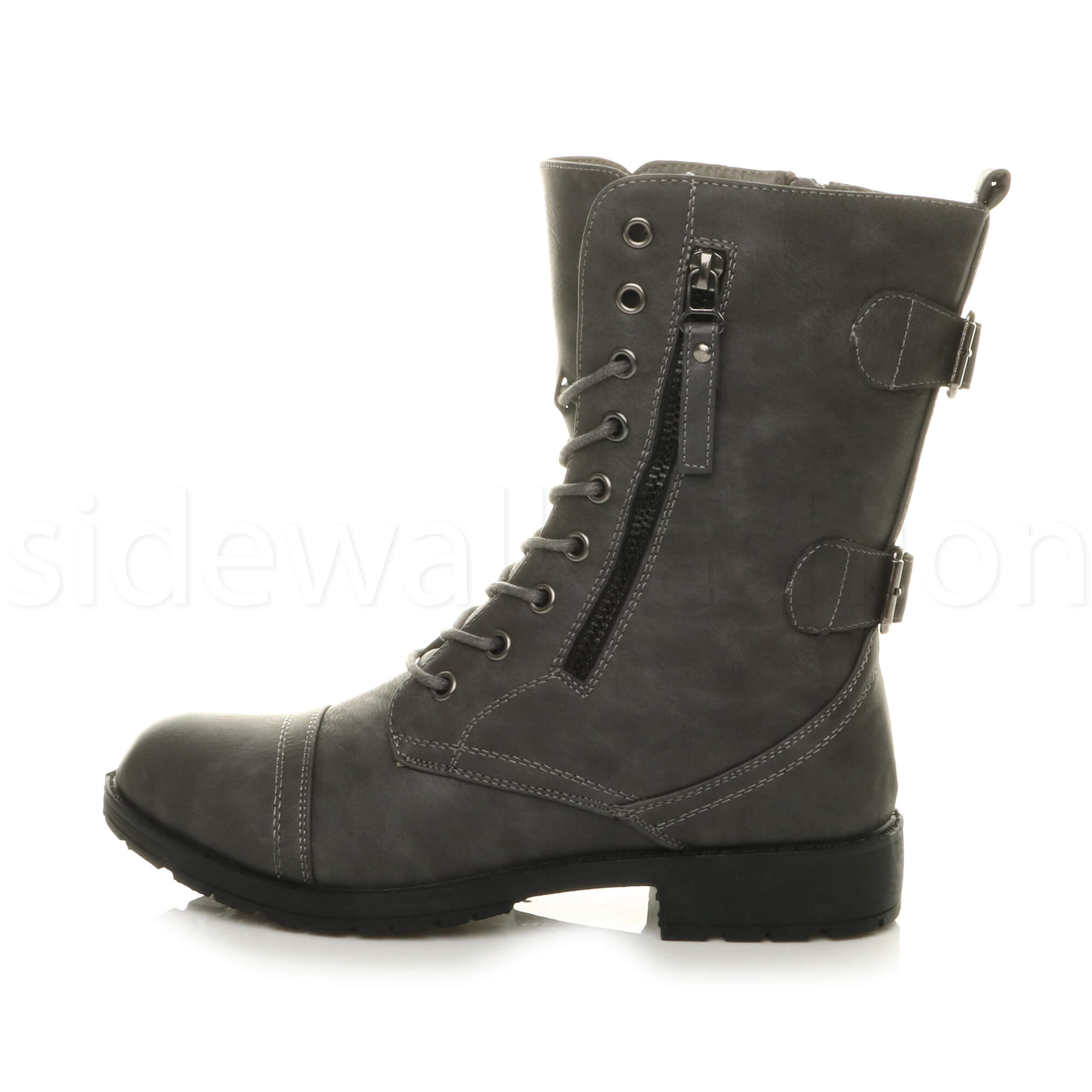 Womens-ladies-low-heel-flat-lace-up-zip-combat-biker-military-ankle-boots-size thumbnail 51