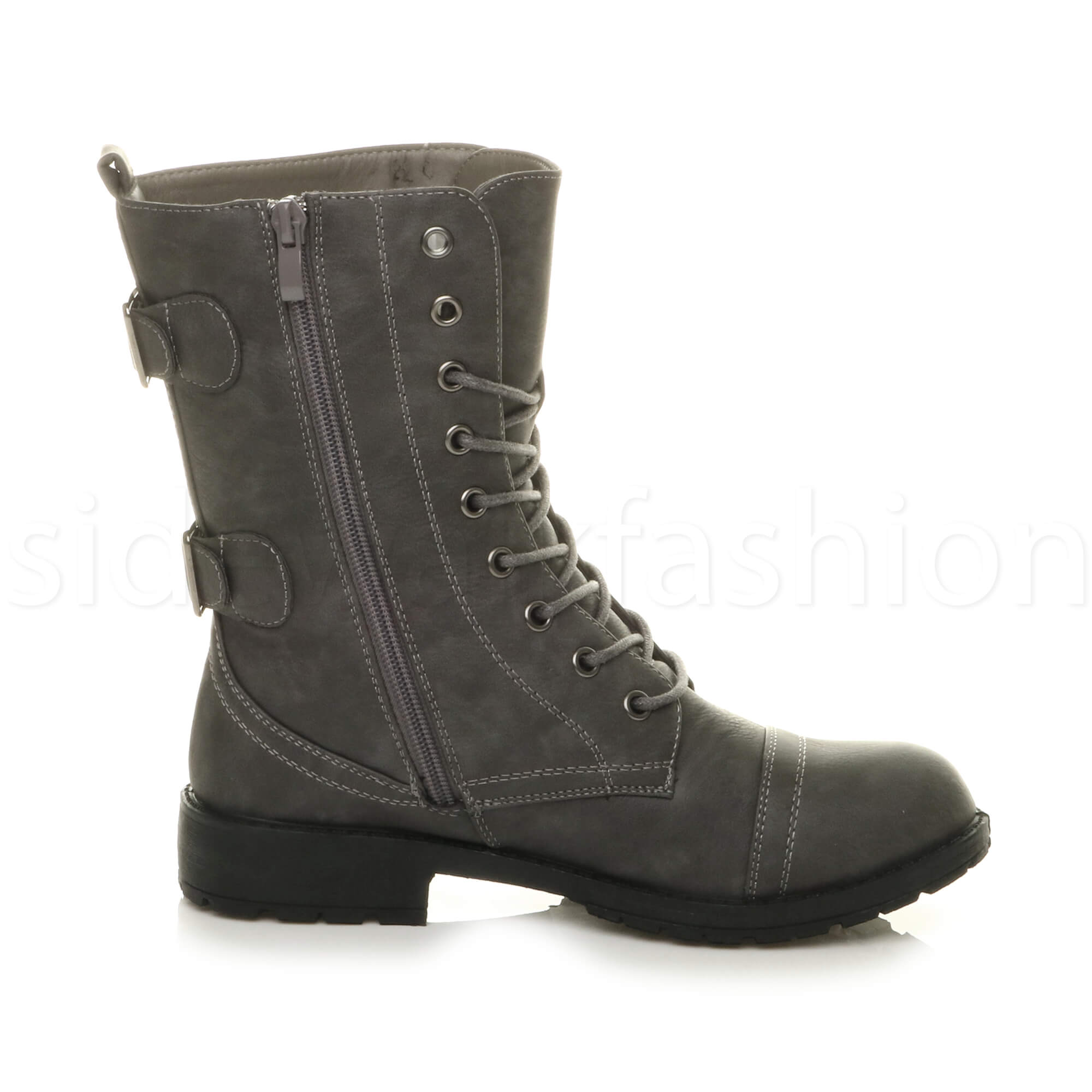 Womens-ladies-low-heel-flat-lace-up-zip-combat-biker-military-ankle-boots-size thumbnail 52