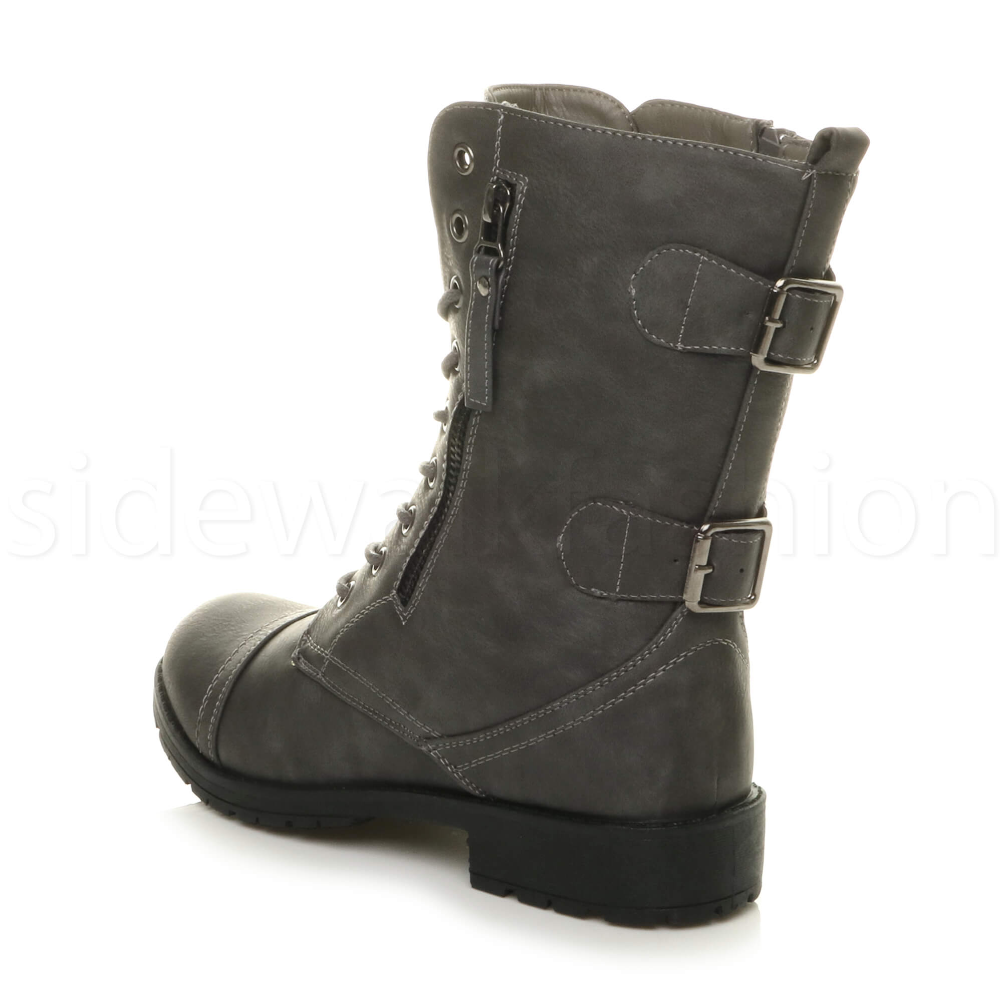 Womens-ladies-low-heel-flat-lace-up-zip-combat-biker-military-ankle-boots-size thumbnail 53