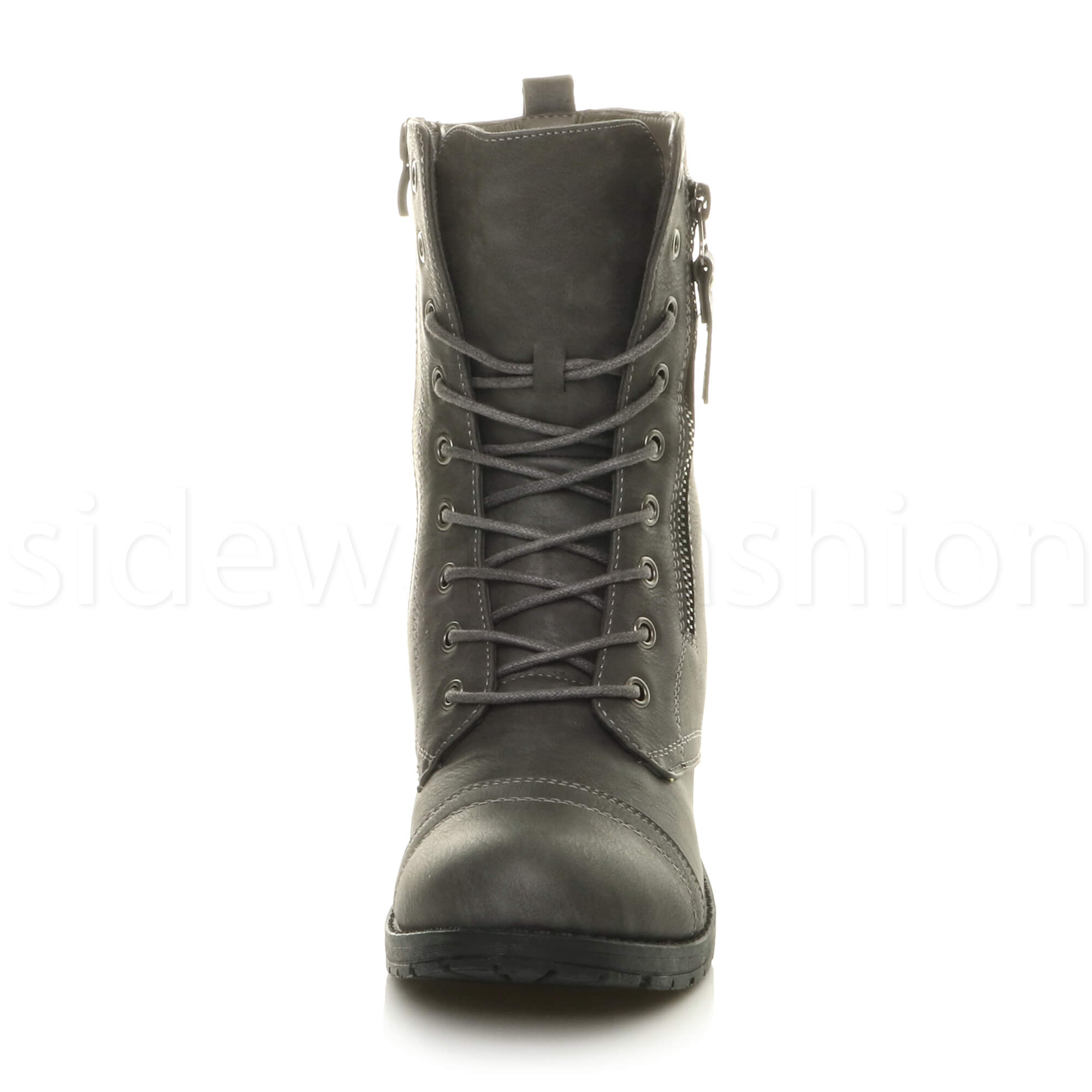 Womens-ladies-low-heel-flat-lace-up-zip-combat-biker-military-ankle-boots-size thumbnail 55