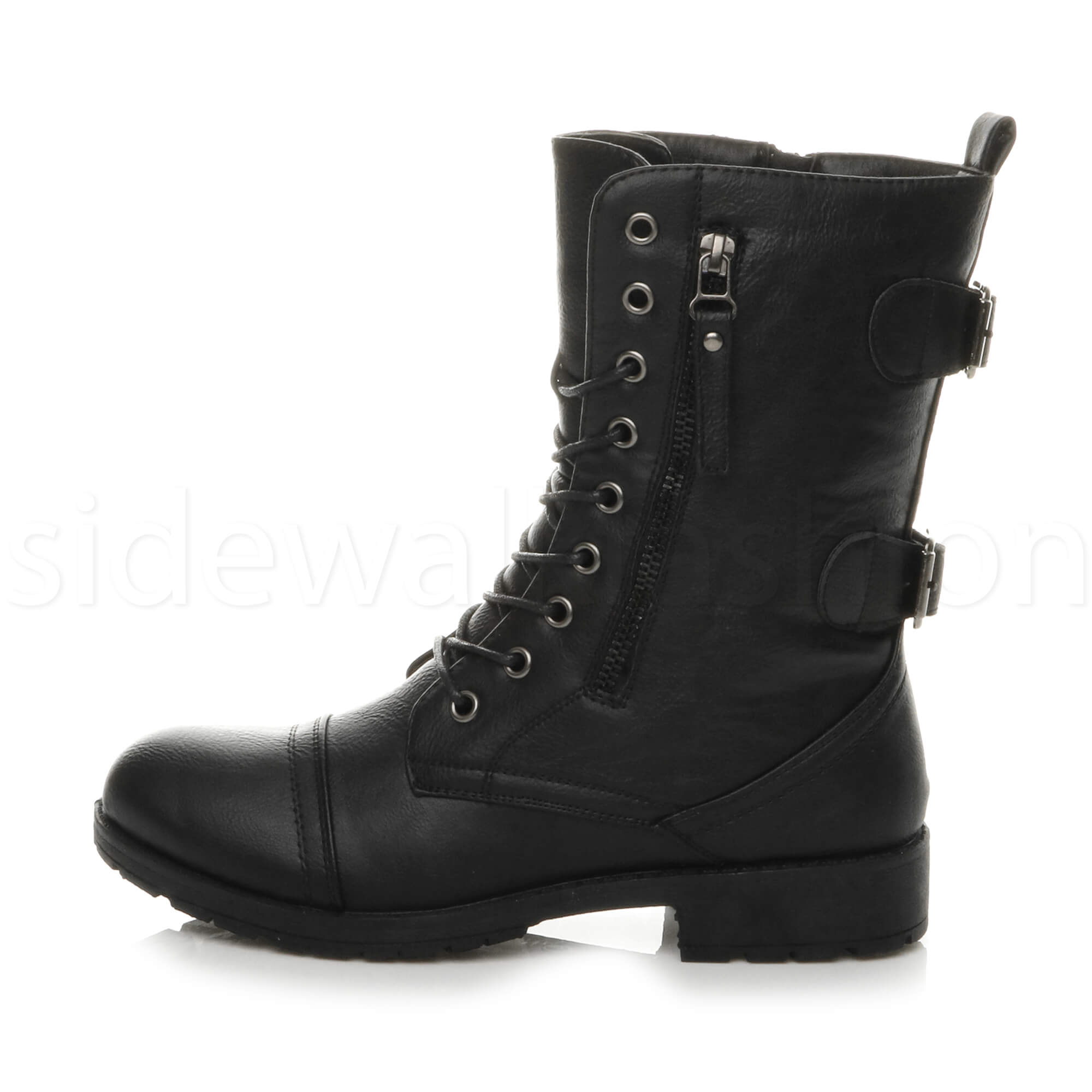 Womens-ladies-low-heel-flat-lace-up-zip-combat-biker-military-ankle-boots-size thumbnail 3