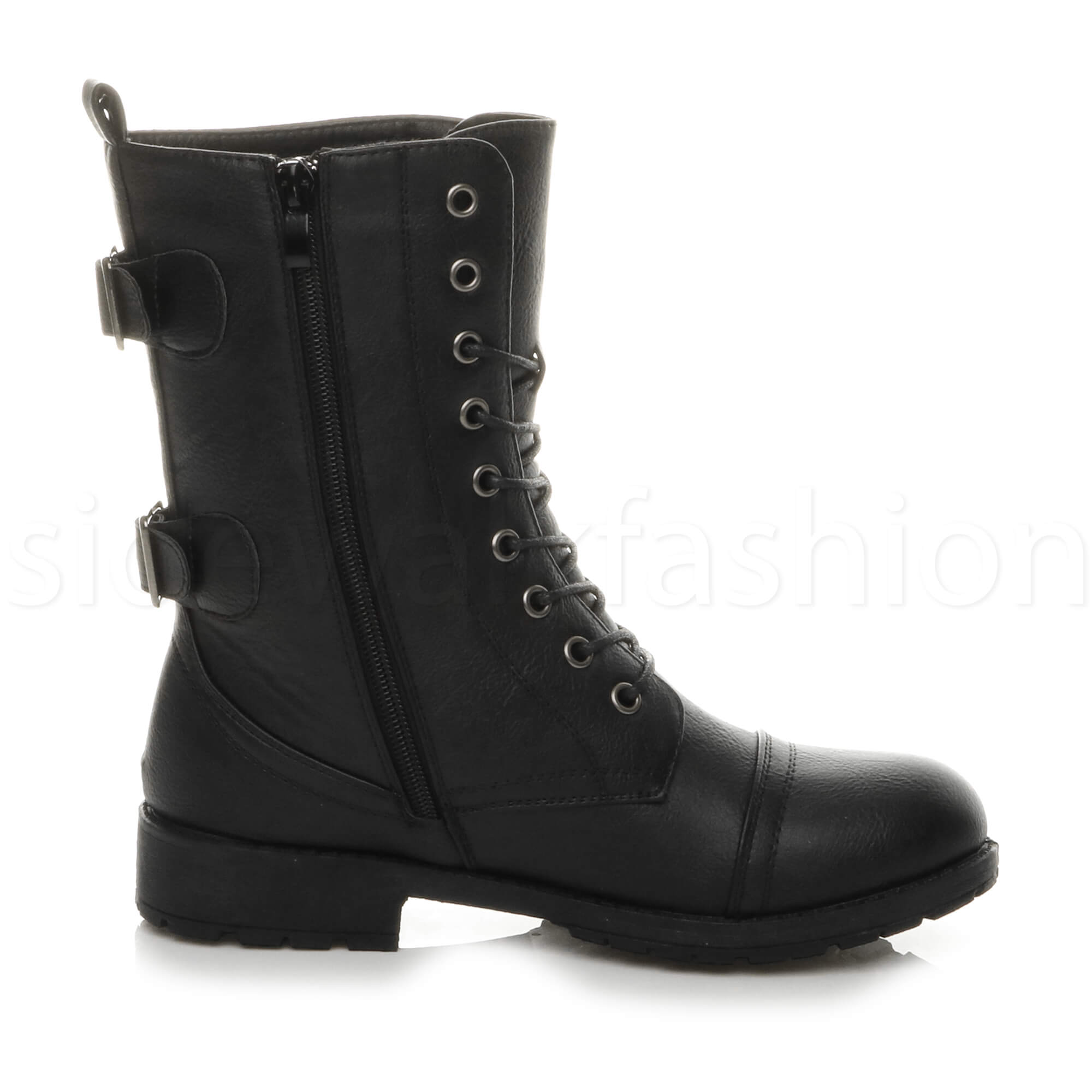 Womens-ladies-low-heel-flat-lace-up-zip-combat-biker-military-ankle-boots-size thumbnail 4