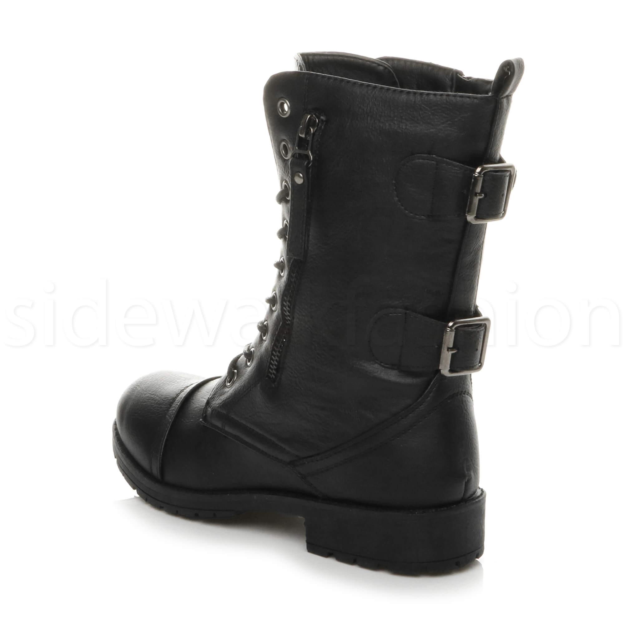 Womens-ladies-low-heel-flat-lace-up-zip-combat-biker-military-ankle-boots-size thumbnail 5