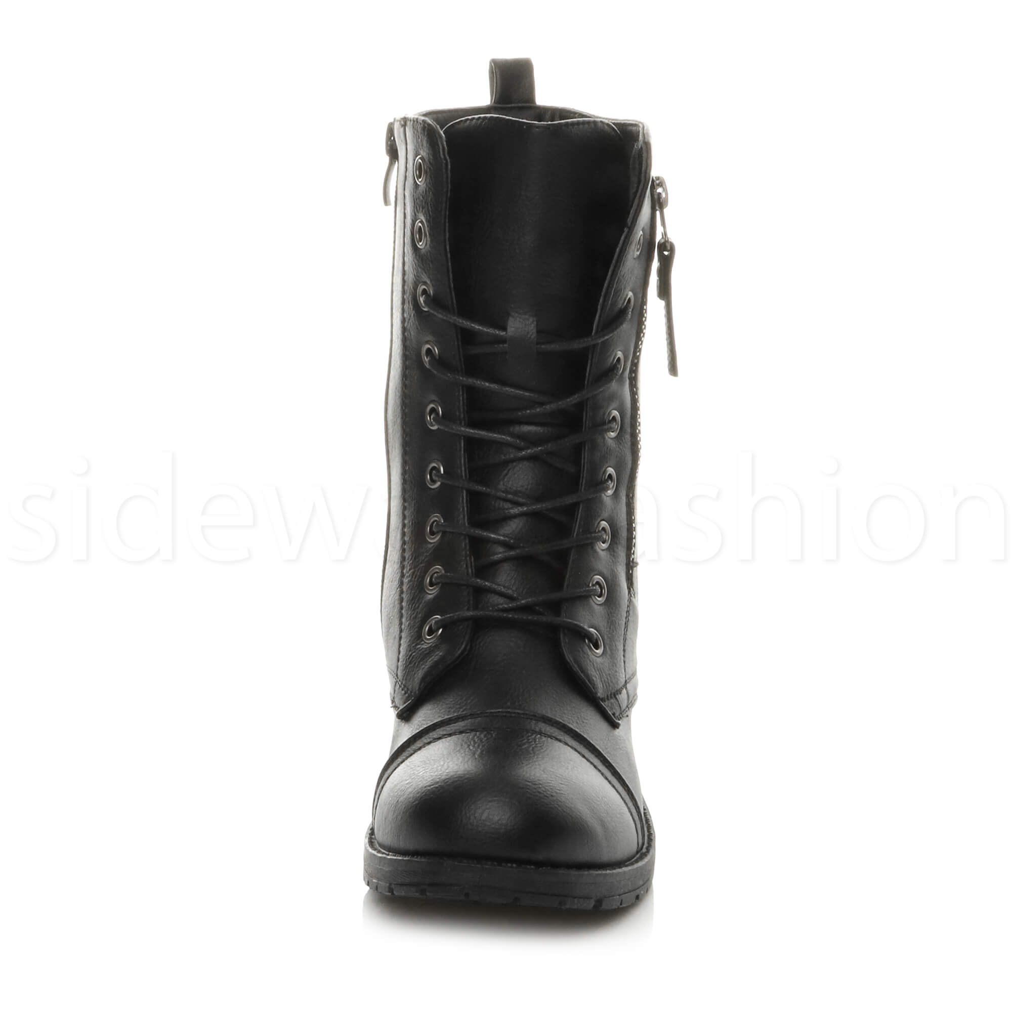 Womens-ladies-low-heel-flat-lace-up-zip-combat-biker-military-ankle-boots-size thumbnail 7