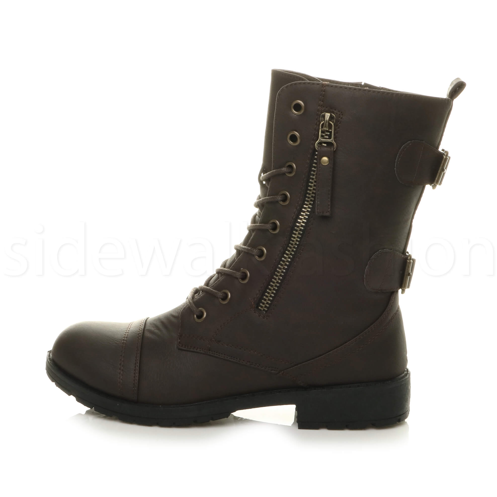 Womens-ladies-low-heel-flat-lace-up-zip-combat-biker-military-ankle-boots-size thumbnail 35