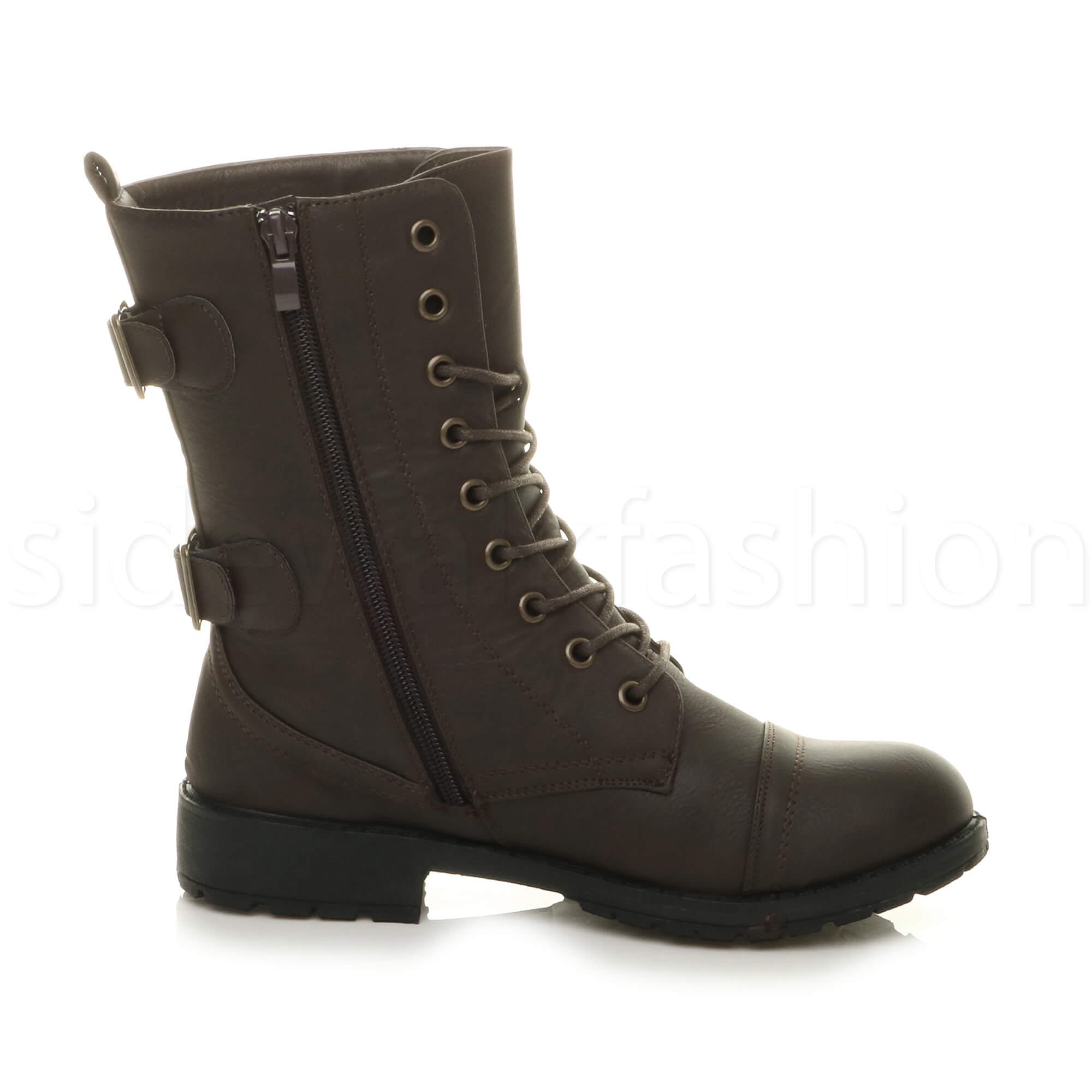 Womens-ladies-low-heel-flat-lace-up-zip-combat-biker-military-ankle-boots-size thumbnail 36