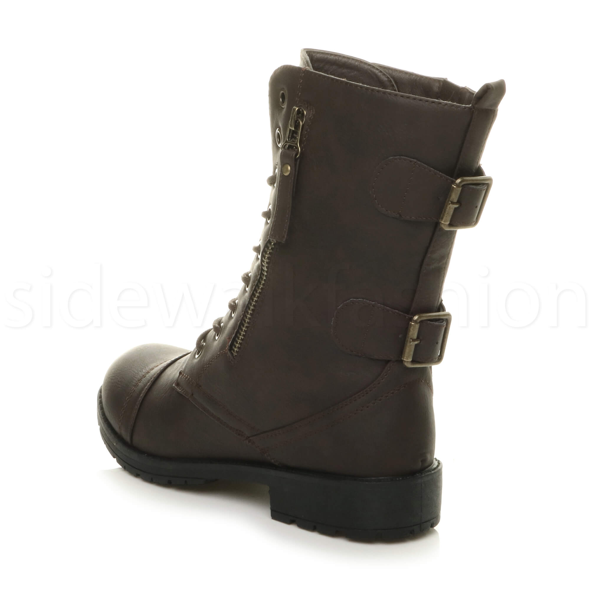 Womens-ladies-low-heel-flat-lace-up-zip-combat-biker-military-ankle-boots-size thumbnail 37