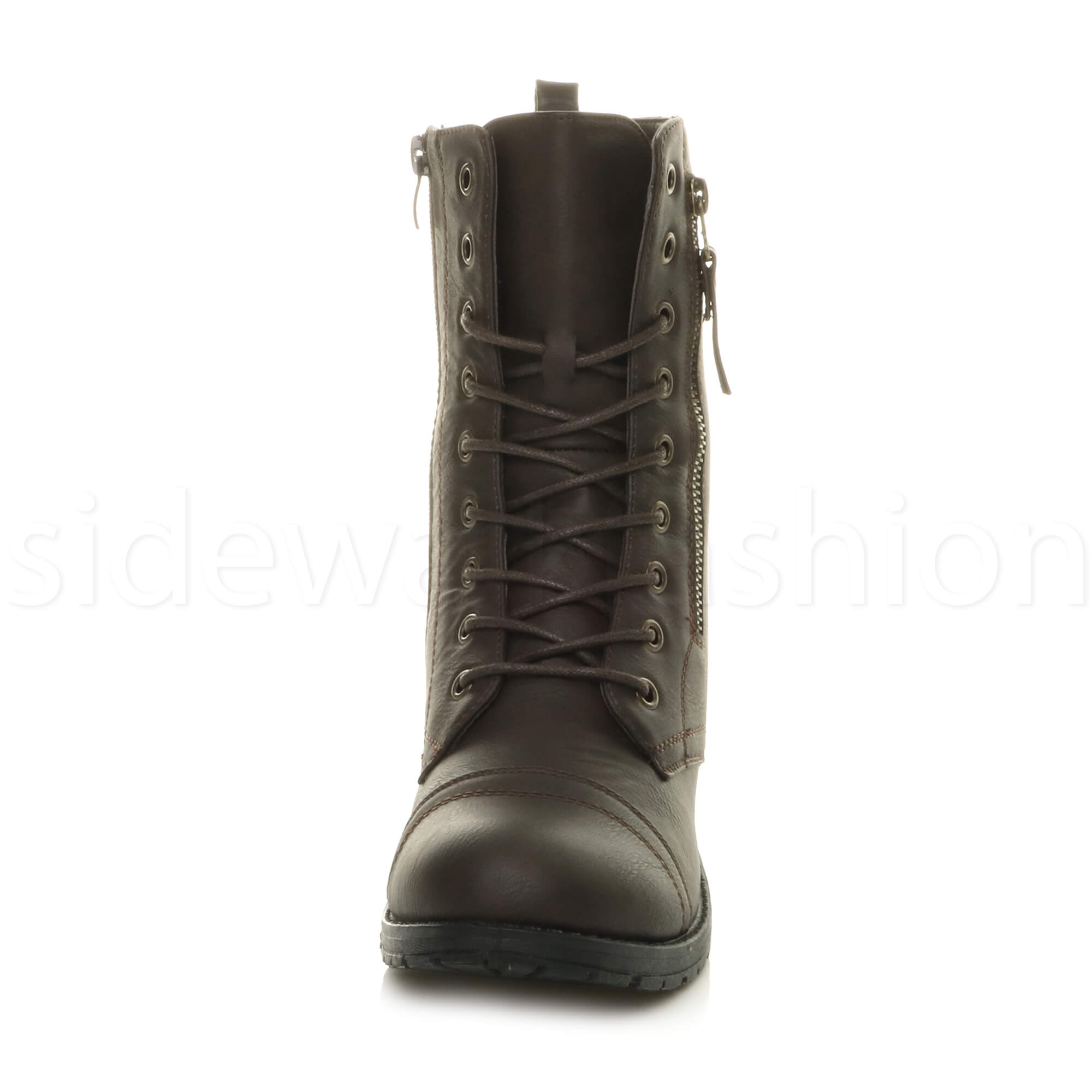 Womens-ladies-low-heel-flat-lace-up-zip-combat-biker-military-ankle-boots-size thumbnail 39