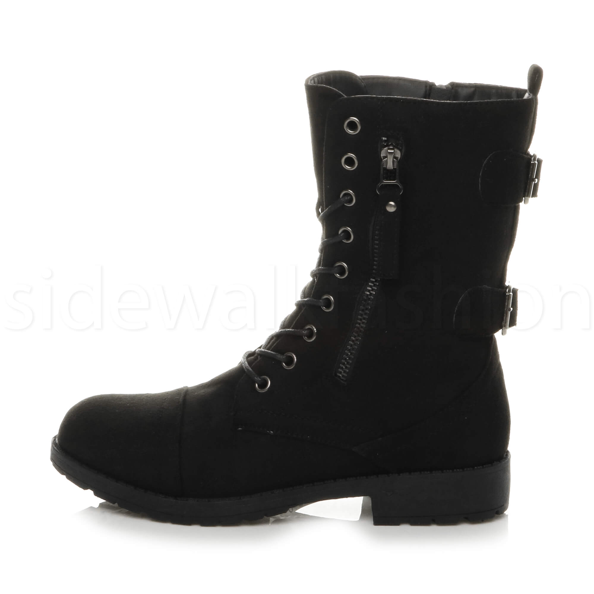 Womens-ladies-low-heel-flat-lace-up-zip-combat-biker-military-ankle-boots-size thumbnail 19
