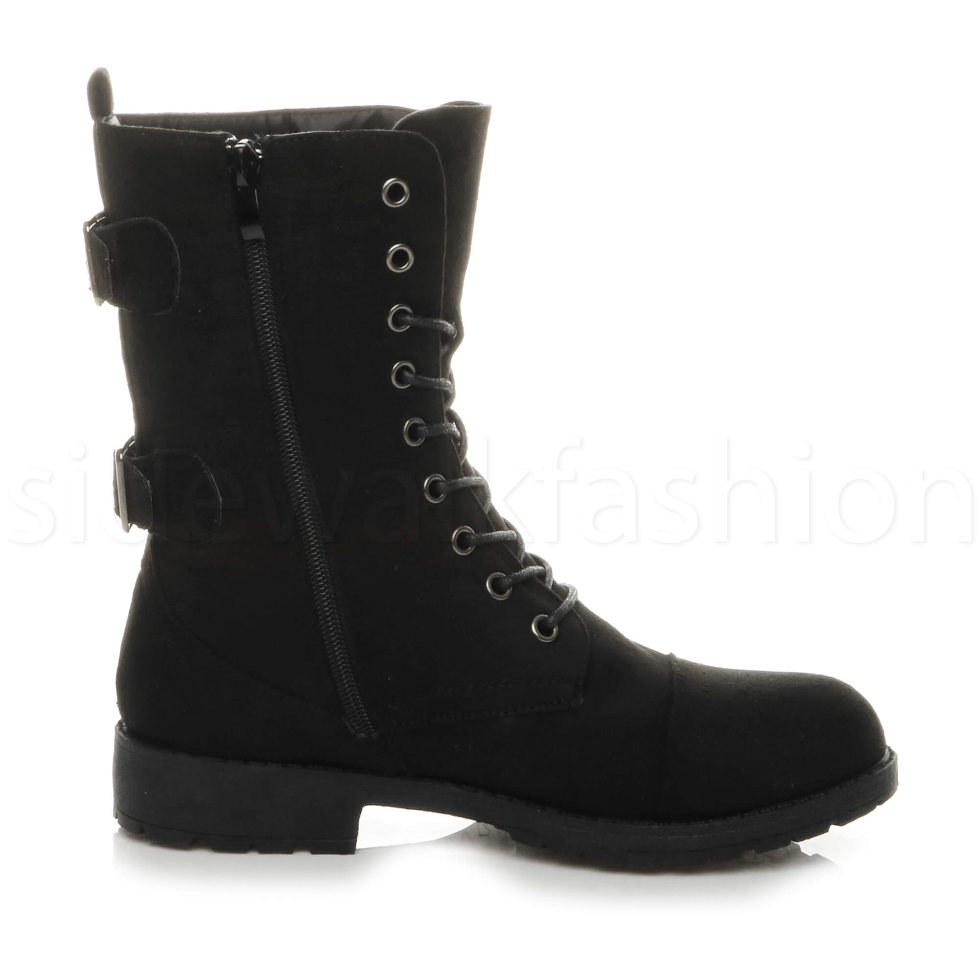 Womens-ladies-low-heel-flat-lace-up-zip-combat-biker-military-ankle-boots-size thumbnail 20