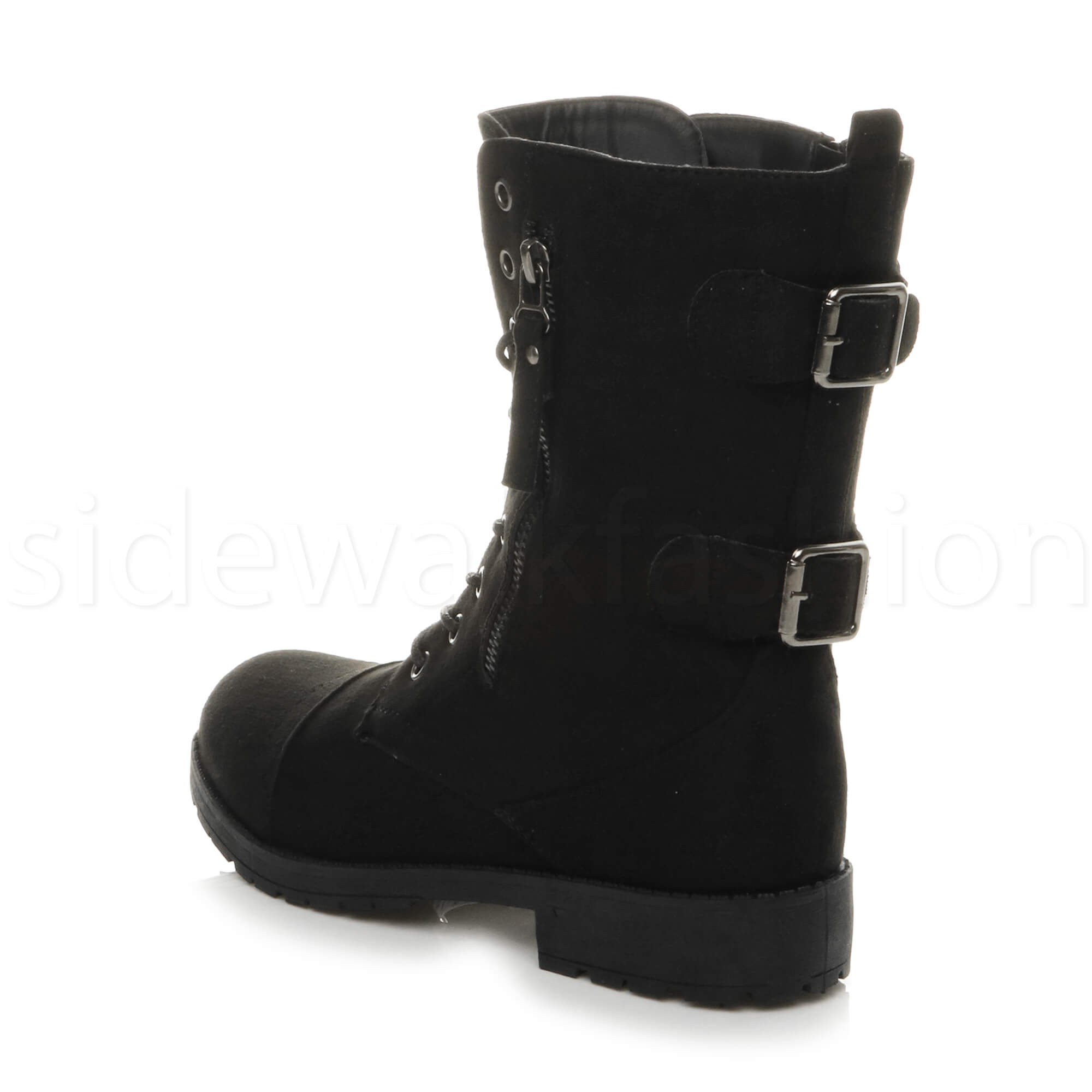 Womens-ladies-low-heel-flat-lace-up-zip-combat-biker-military-ankle-boots-size thumbnail 21