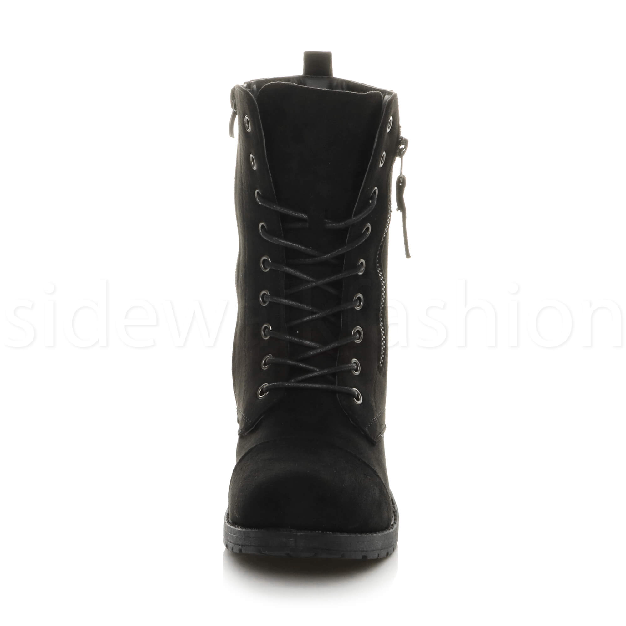 Womens-ladies-low-heel-flat-lace-up-zip-combat-biker-military-ankle-boots-size thumbnail 23