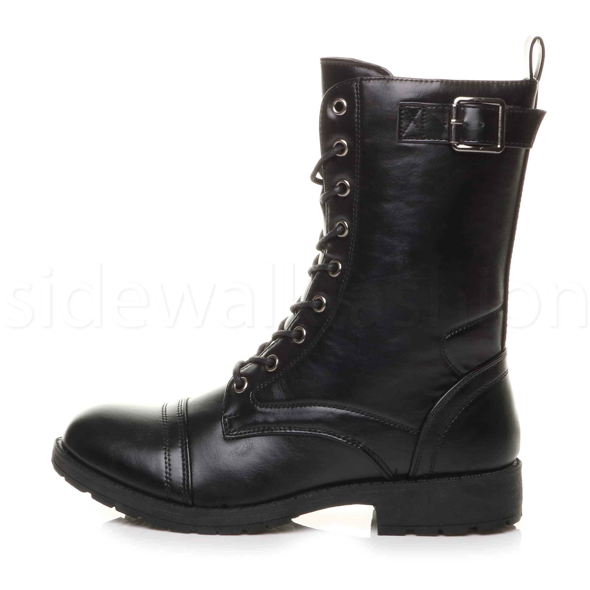 Womens-ladies-low-heel-flat-lace-up-zip-combat-biker-military-ankle-boots-size thumbnail 11