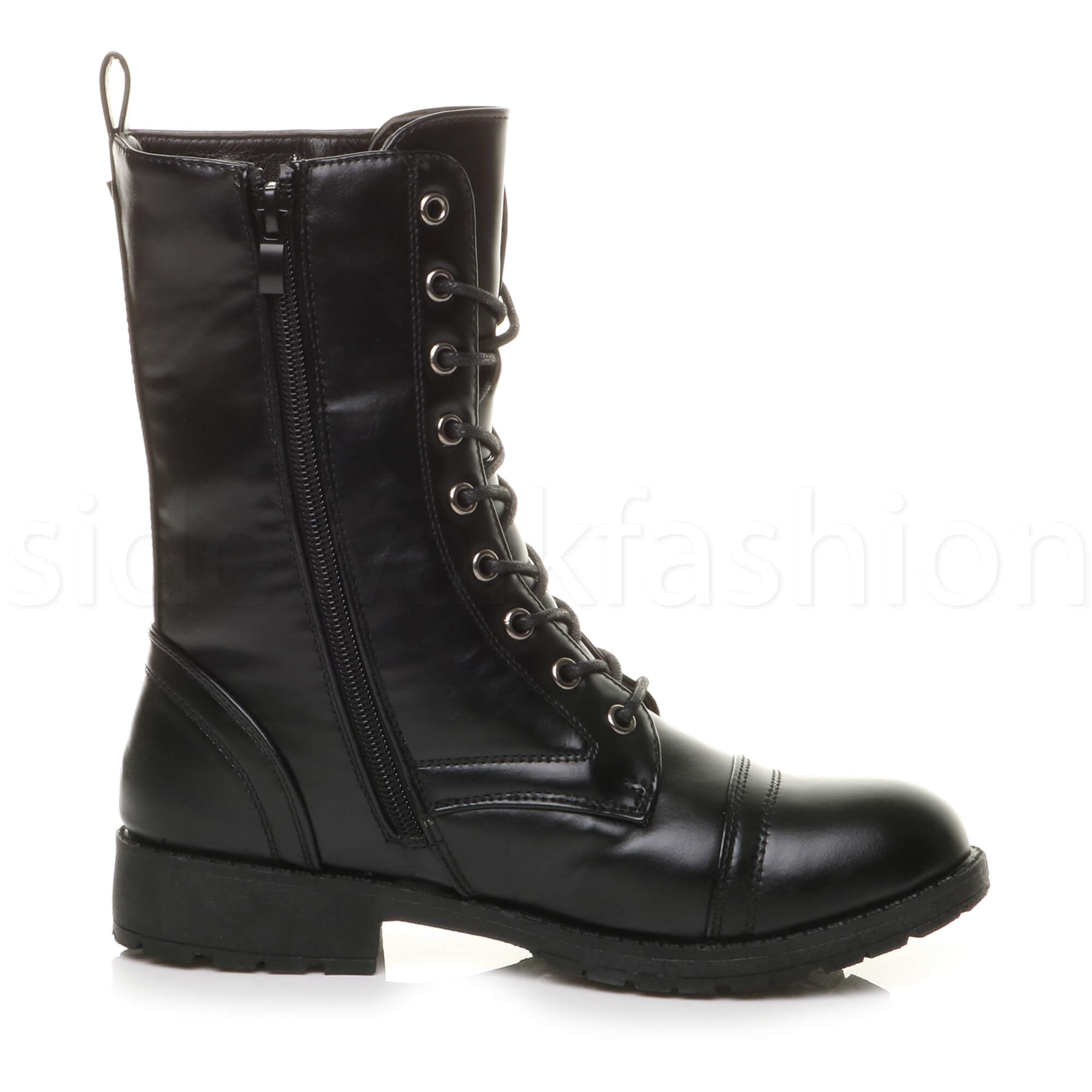 Womens-ladies-low-heel-flat-lace-up-zip-combat-biker-military-ankle-boots-size thumbnail 12