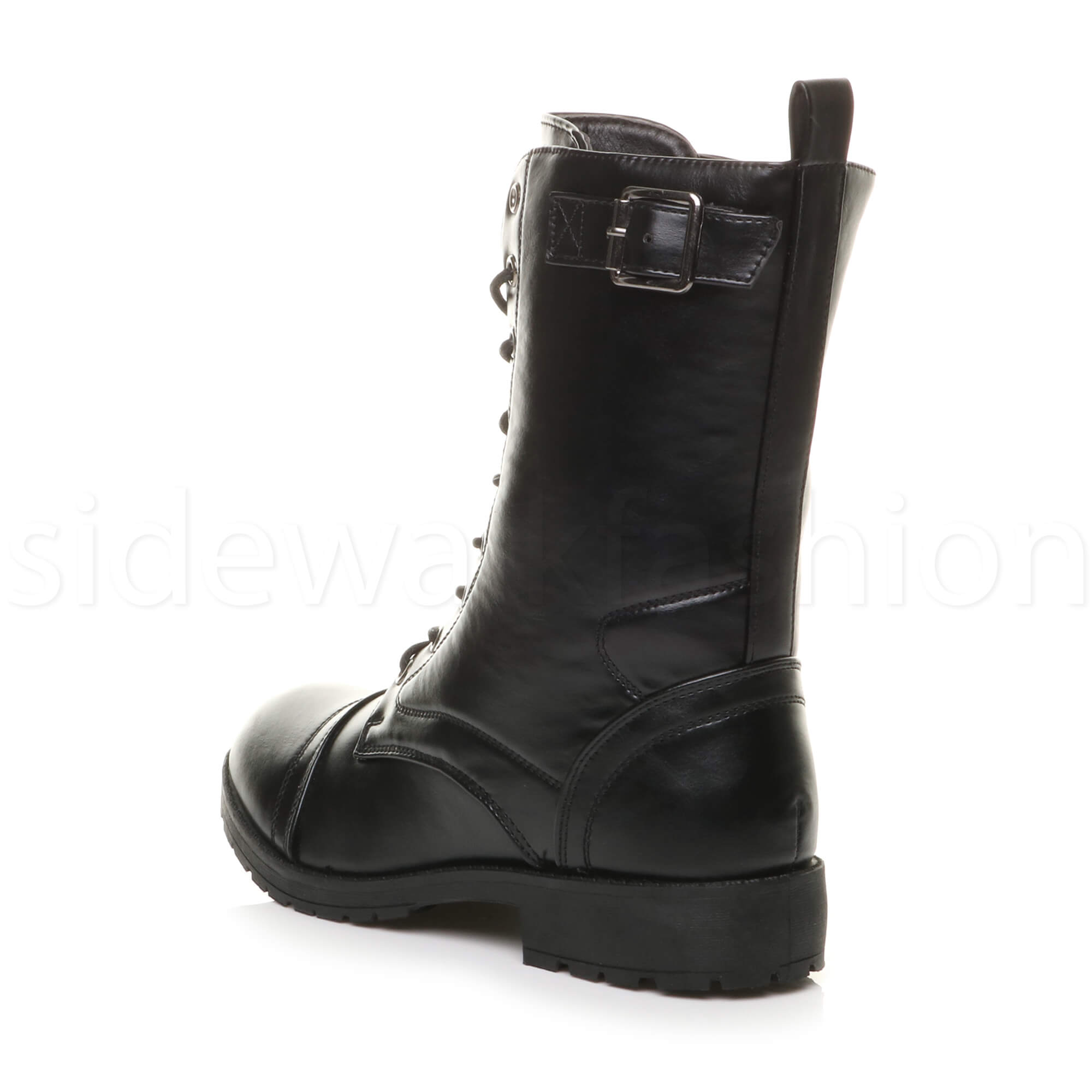 Womens-ladies-low-heel-flat-lace-up-zip-combat-biker-military-ankle-boots-size thumbnail 13
